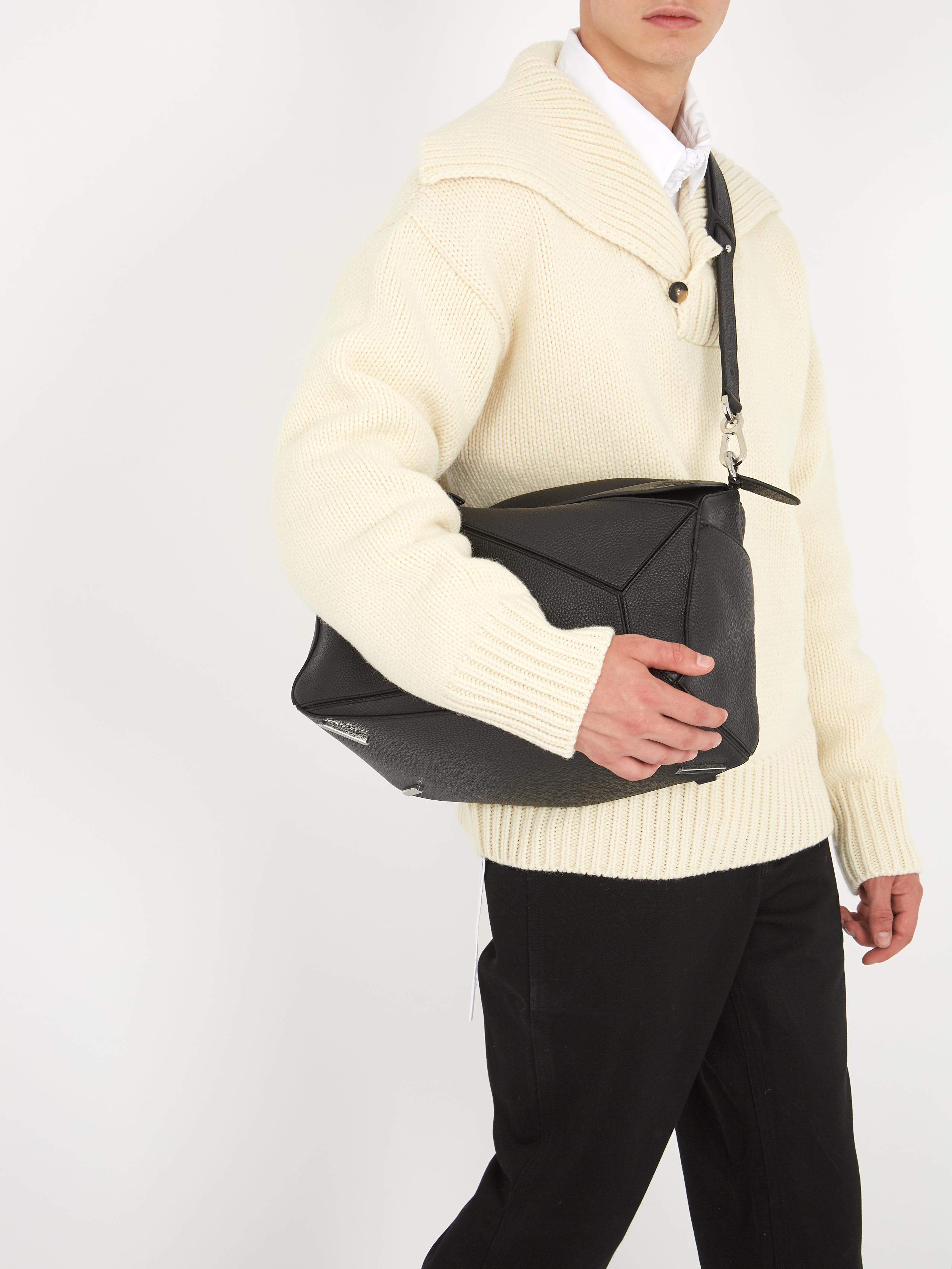 Lyst Loewe Puzzle Xl Leather Bag In Black For Men