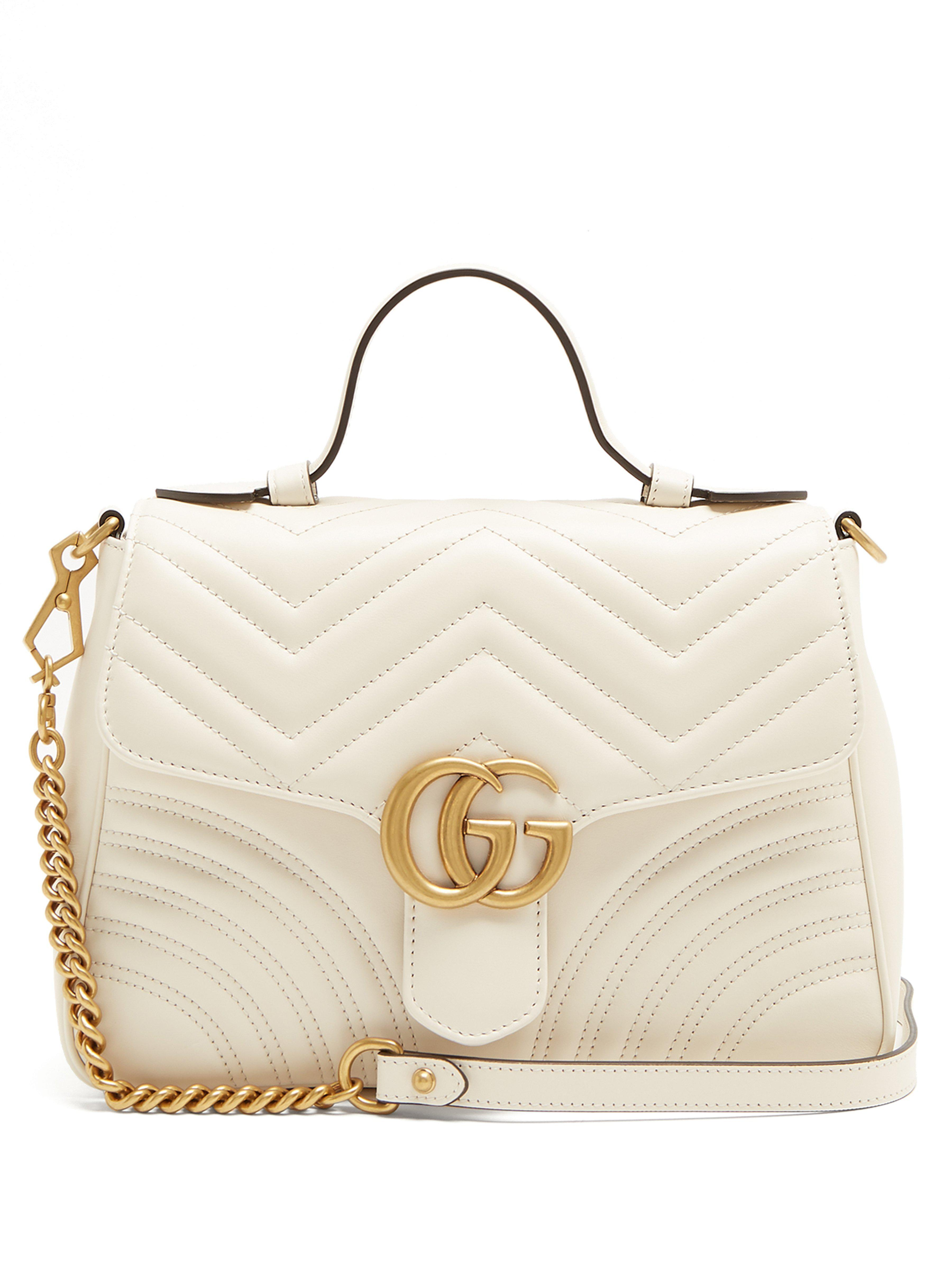 2dde24e11d6f4 Gucci Gg Marmont Small Quilted-leather Shoulder-bag in White - Lyst
