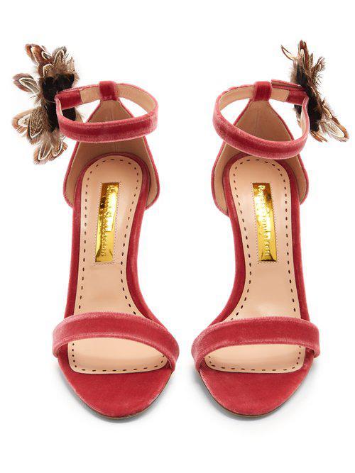 Rupert Sanderson Nymphea feather-trimmed velvet sandals For Sale Finishline y28Q37KW