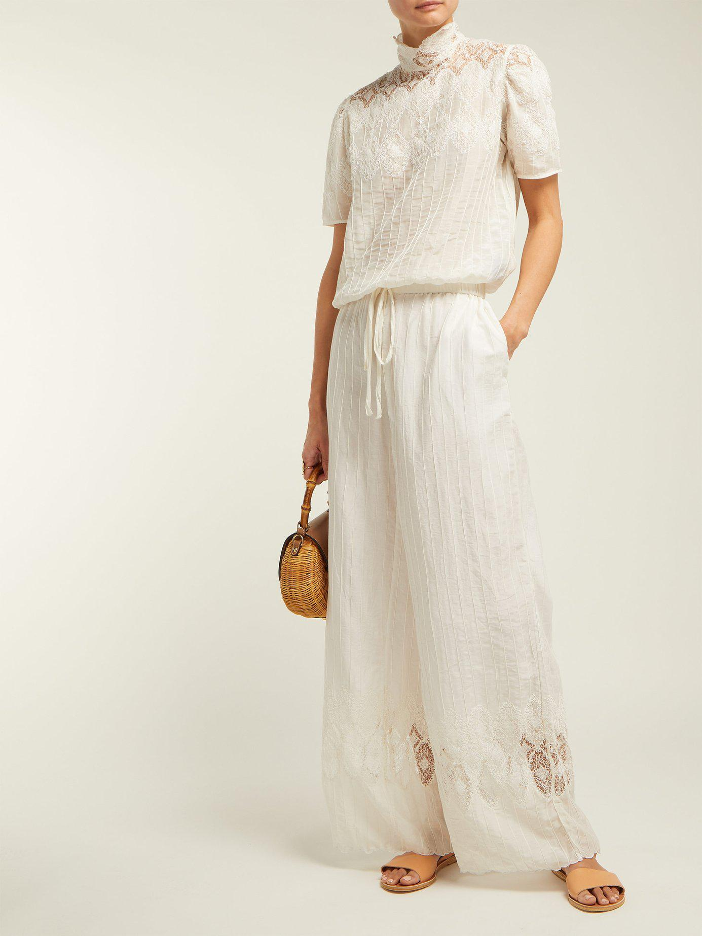 Lyst Thierry Colson Sabrina Lace Trimmed Cotton Blend Blouse In White Swing Sleeves View Fullscreen