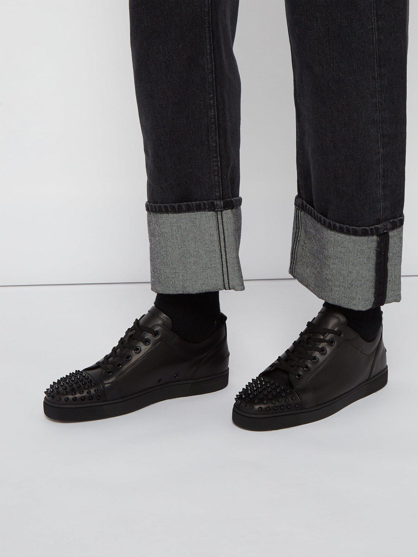 75874986789 Lyst - Christian Louboutin Louis Junior Low Top Leather Trainers in Black  for Men