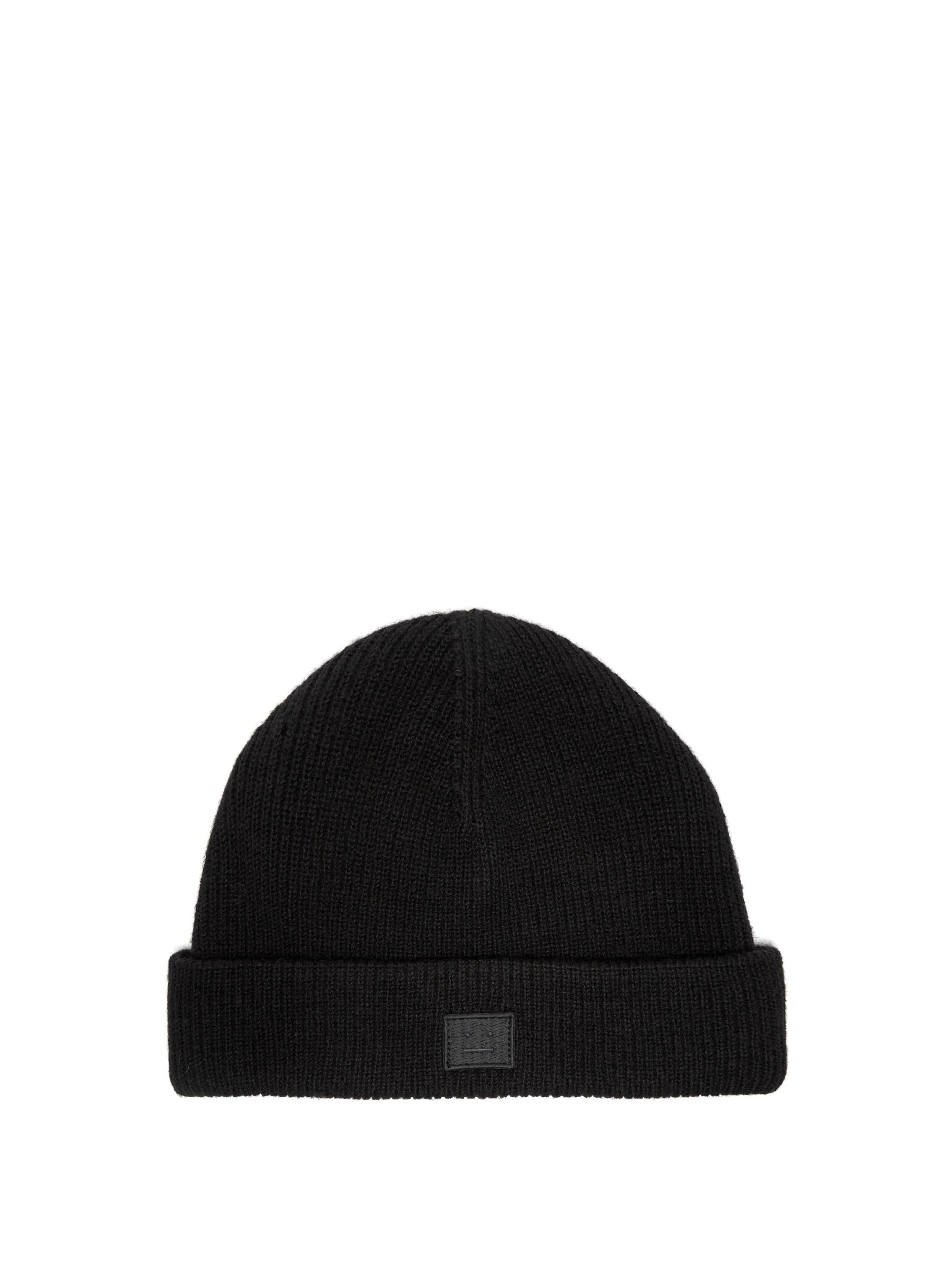 3c111fe71b3 Acne Studios Kansy Face Wool Blend Beanie Hat in Black for Men - Lyst