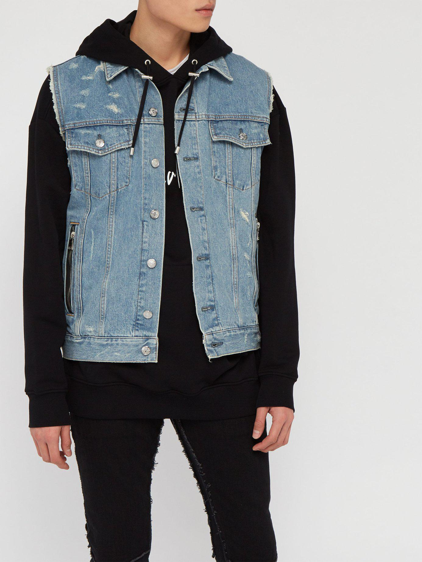 f71ee25cdc Lyst - Balmain Distressed Sleeveless Denim Jacket in Blue for Men