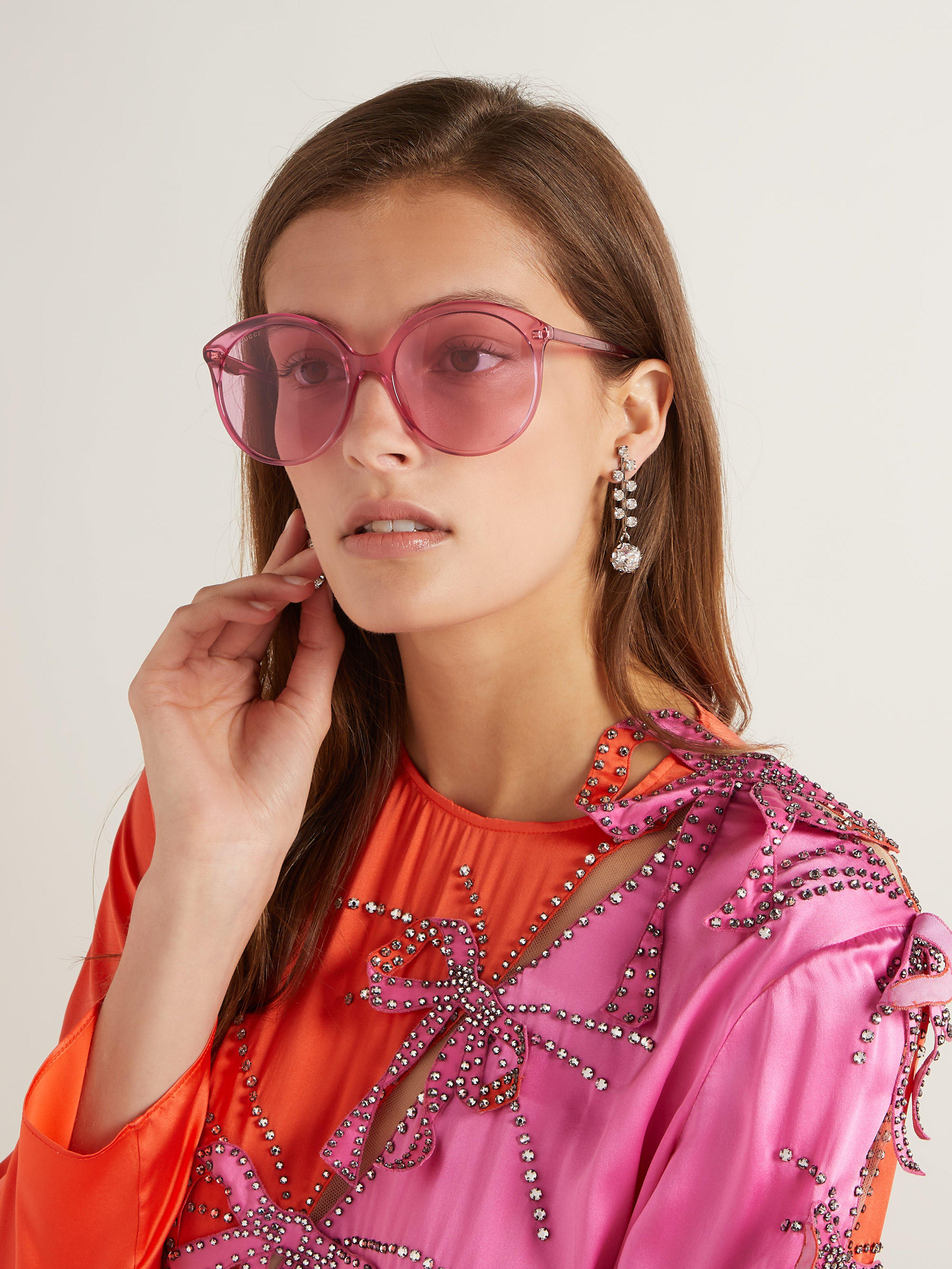 b102234412 Gucci Round Cat Eye Frame Acetate Sunglasses in Pink - Lyst