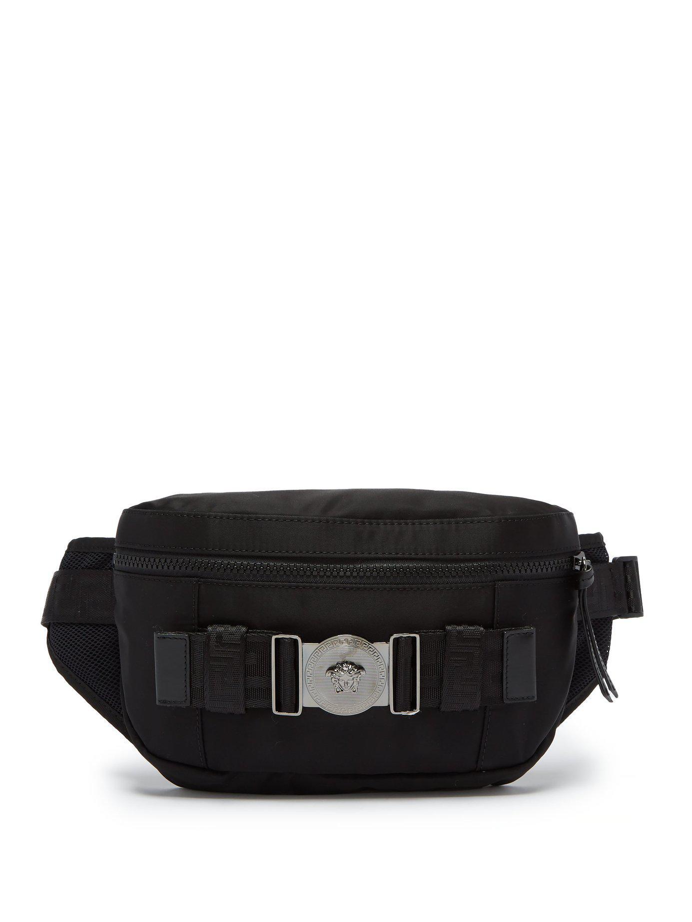 7d3bef793215 Lyst - Versace Medusa Nylon Belt Bag in Black for Men