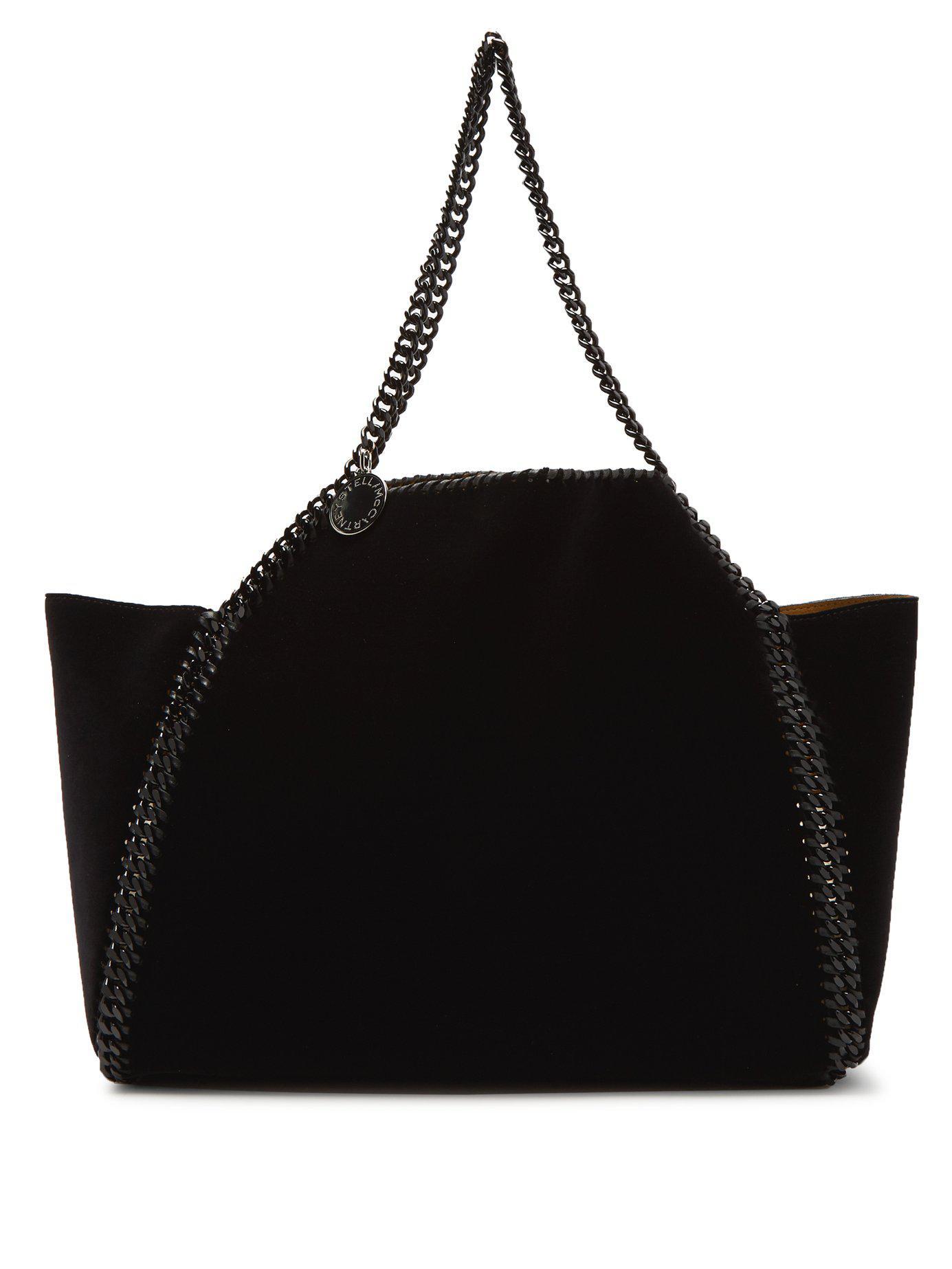 5dacf01b65 Stella McCartney. Women s Black Falabella Small Reversible Velvet Tote Bag