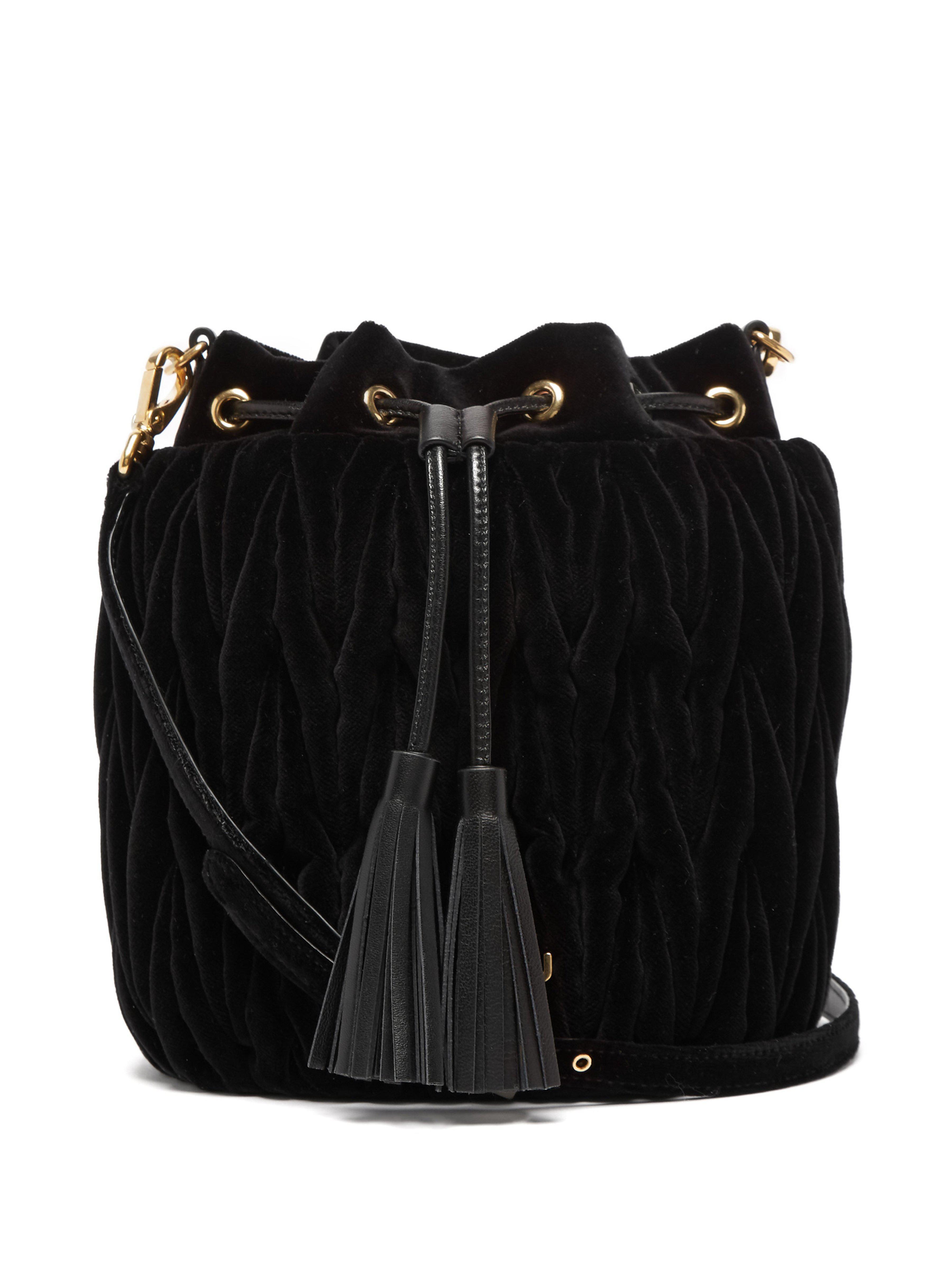 e007aed8a230 Miu Miu Matelassé Velvet Bucket Bag in Black - Lyst