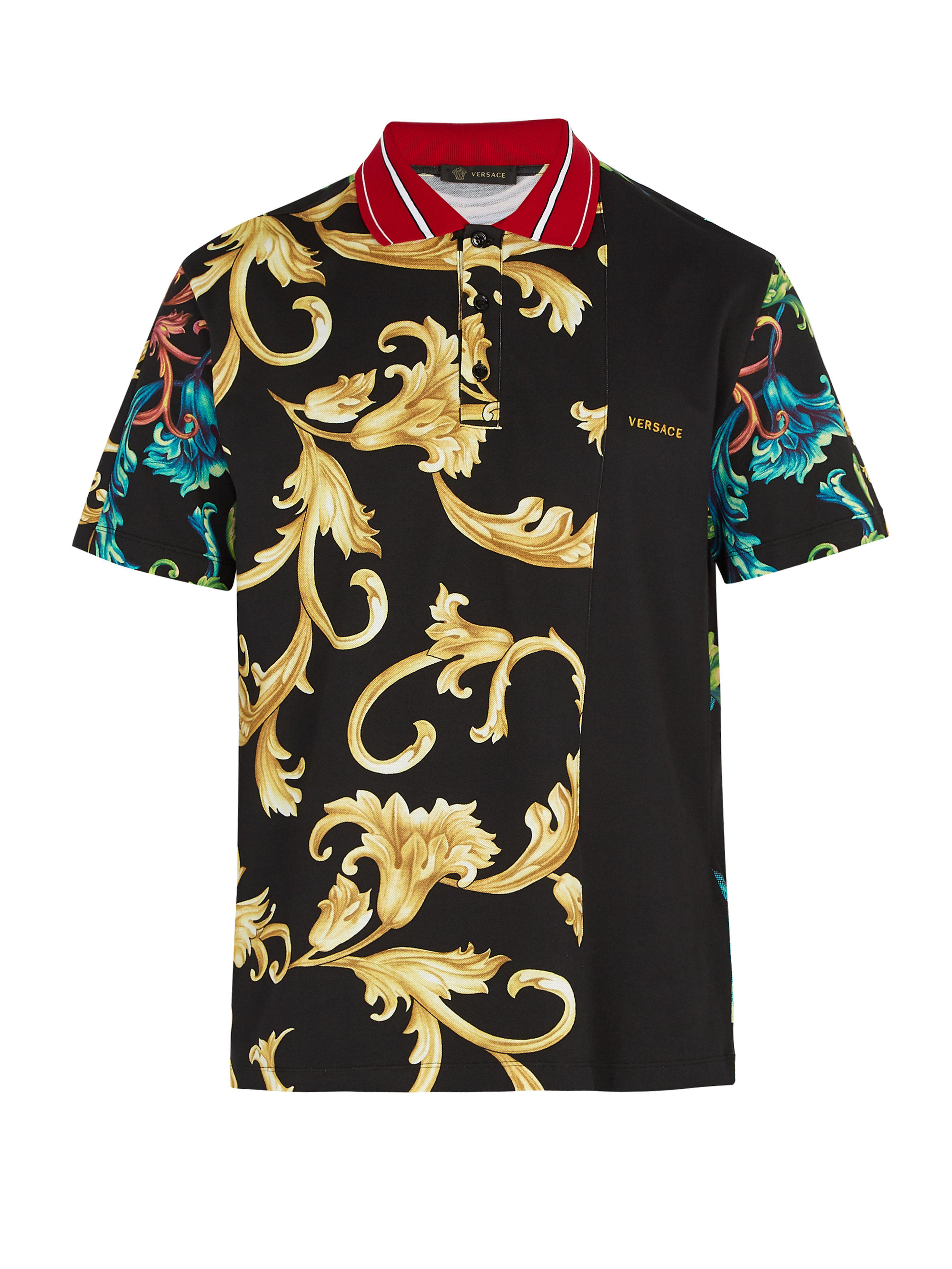 3879e2f75379 Versace Baroque-print Cotton Polo Shirt for Men - Lyst