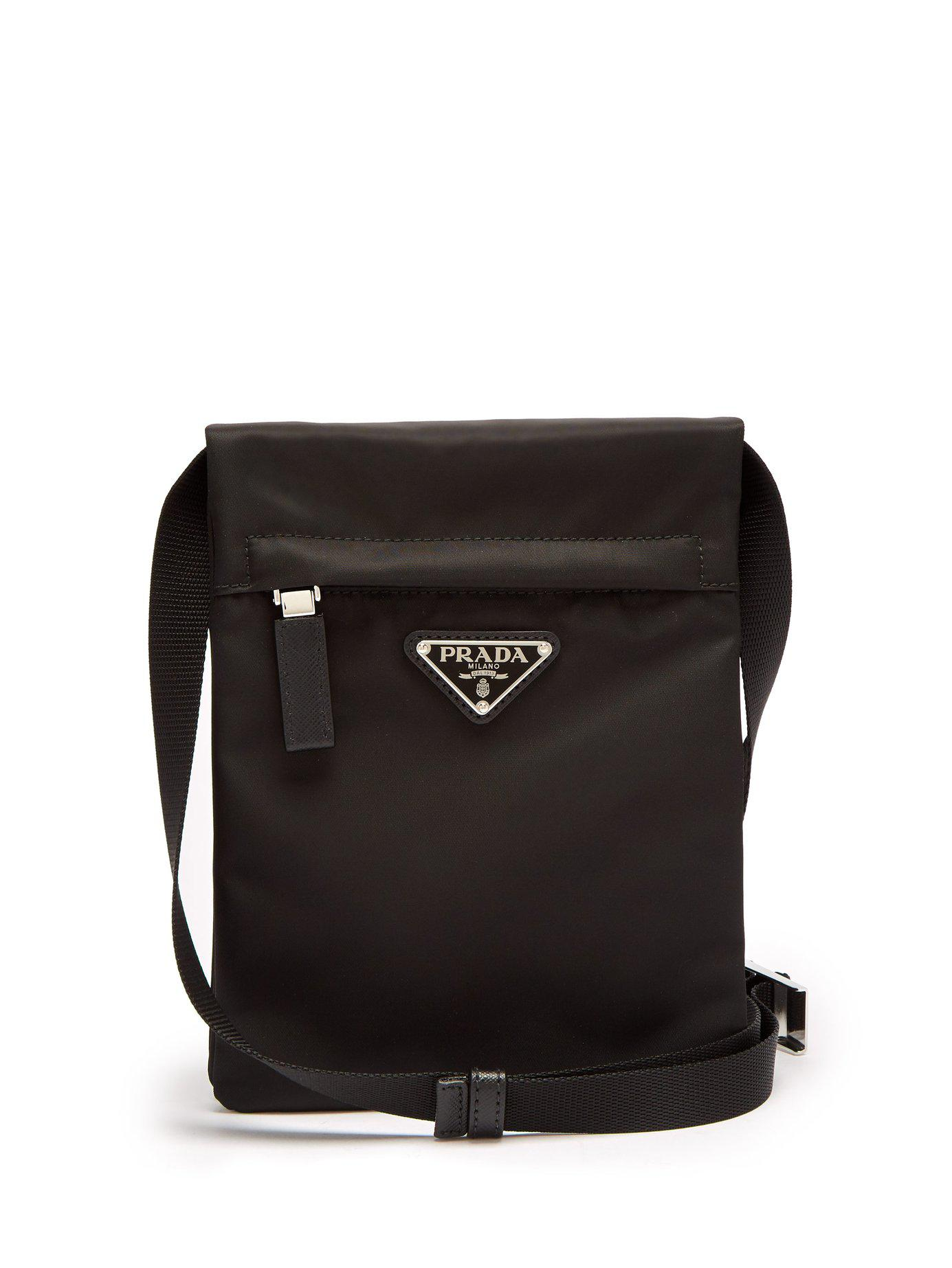 ce4fce1ccf13c1 Prada - Black Nylon Cross Body Bag for Men - Lyst. View fullscreen
