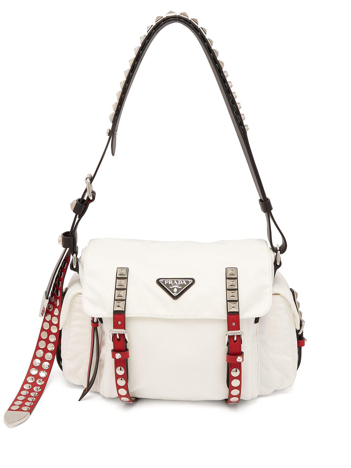 8556894d6f16 Prada - White Vela Leather Trimmed Cross Body Bag - Lyst. View fullscreen