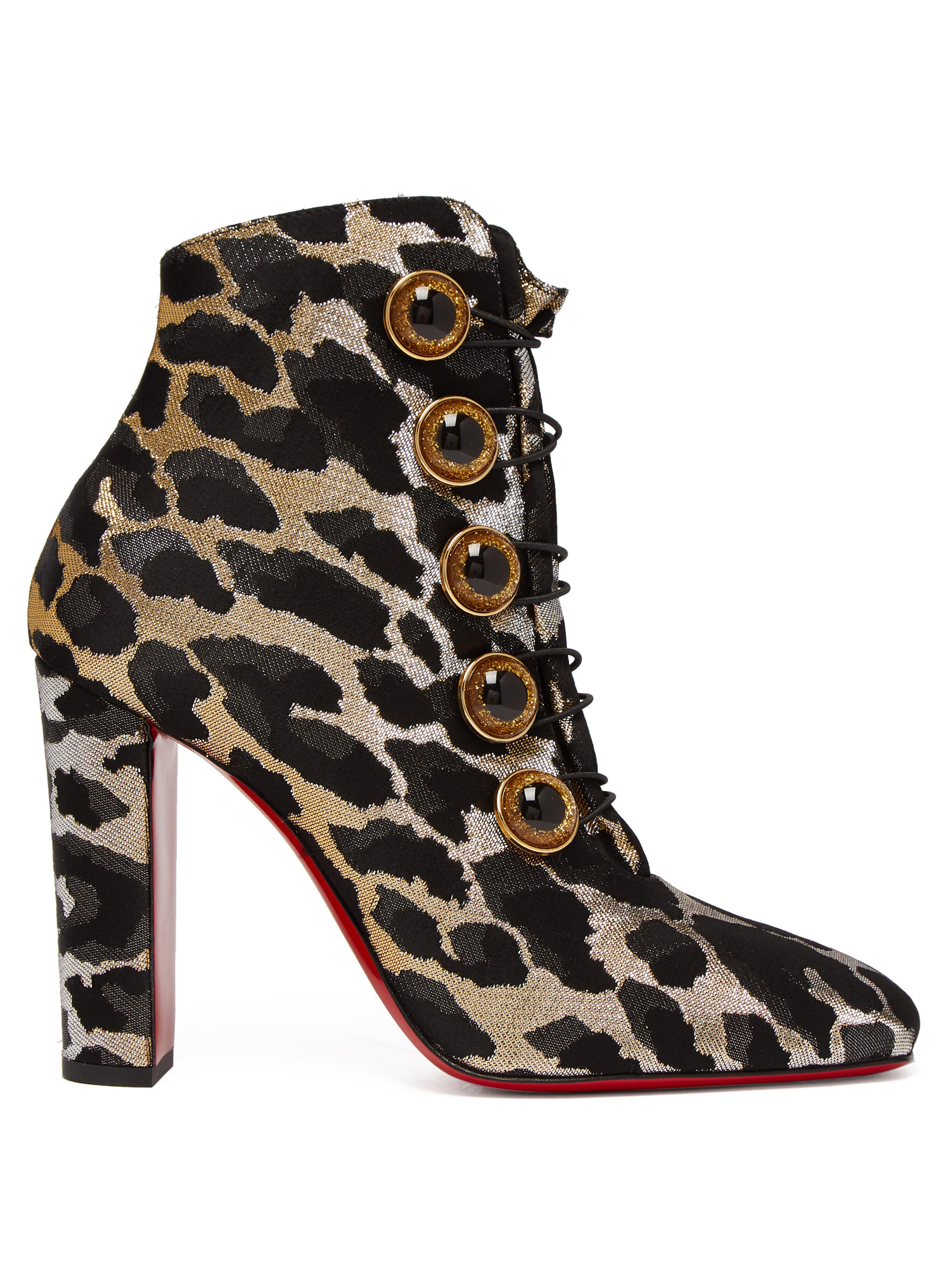 b2a2dfbd13f8 Christian Louboutin. Women s Black Lady See 100 Leopard Print Ankle Boots