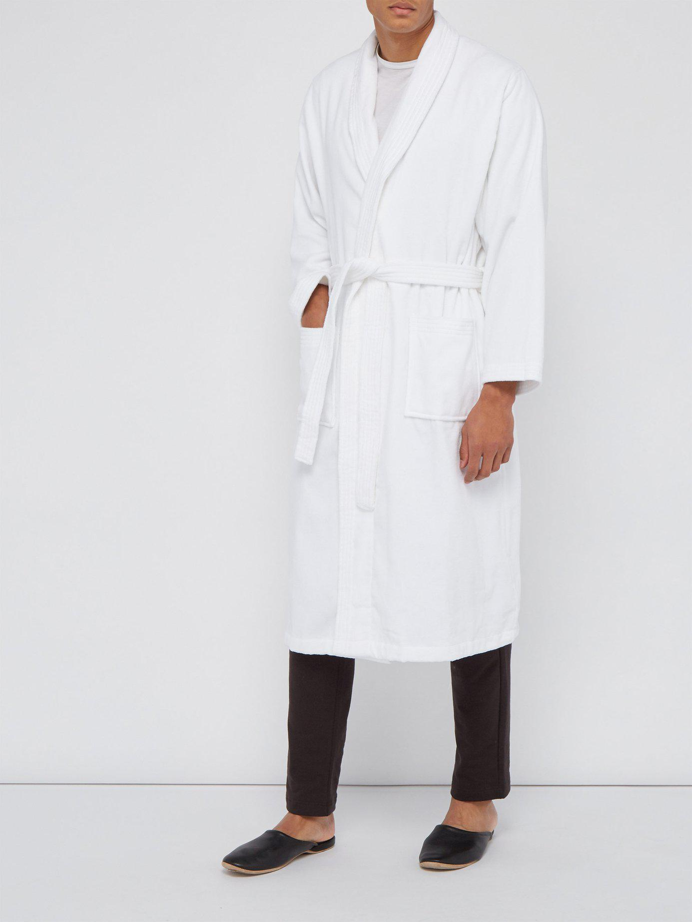 Derek Rose Cotton Velour Bathrobe in White for Men - Lyst 825520ab3