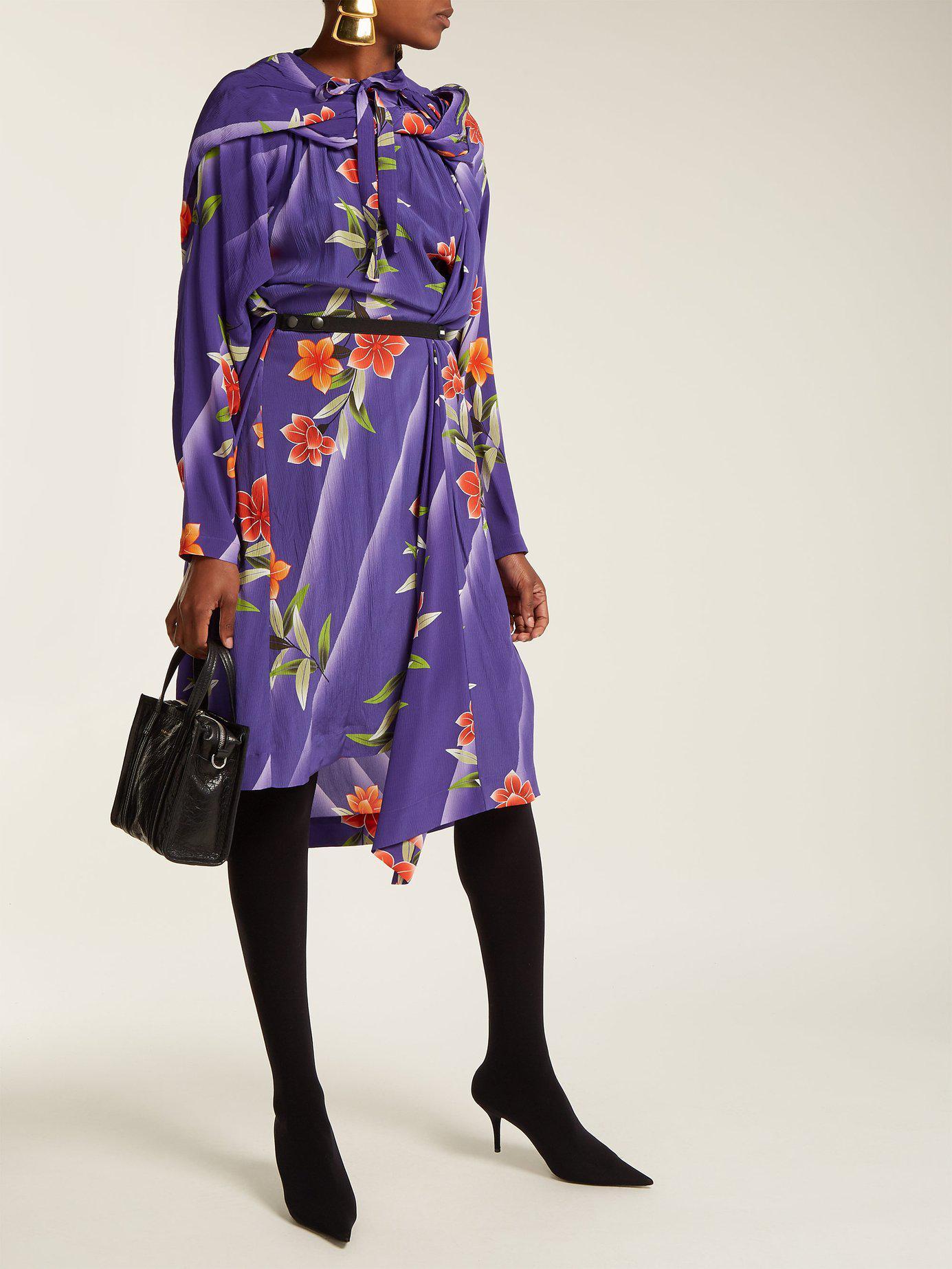 564f2a9cb65b Lyst - Balenciaga Floral Print Twisted Silk Dress in Purple