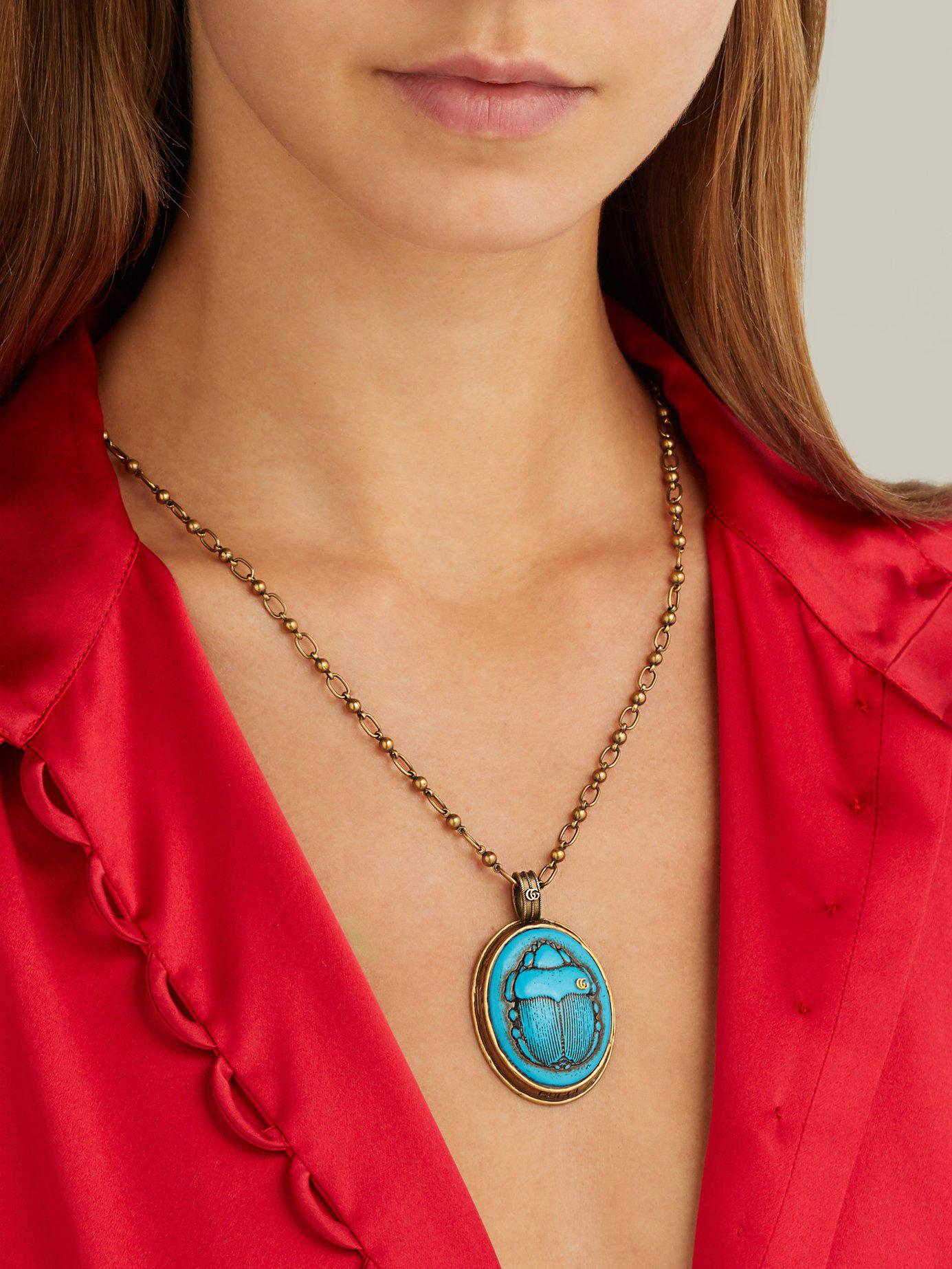 34a148fd3a3 Gucci - Blue Beetle Pendant Necklace - Lyst. View fullscreen