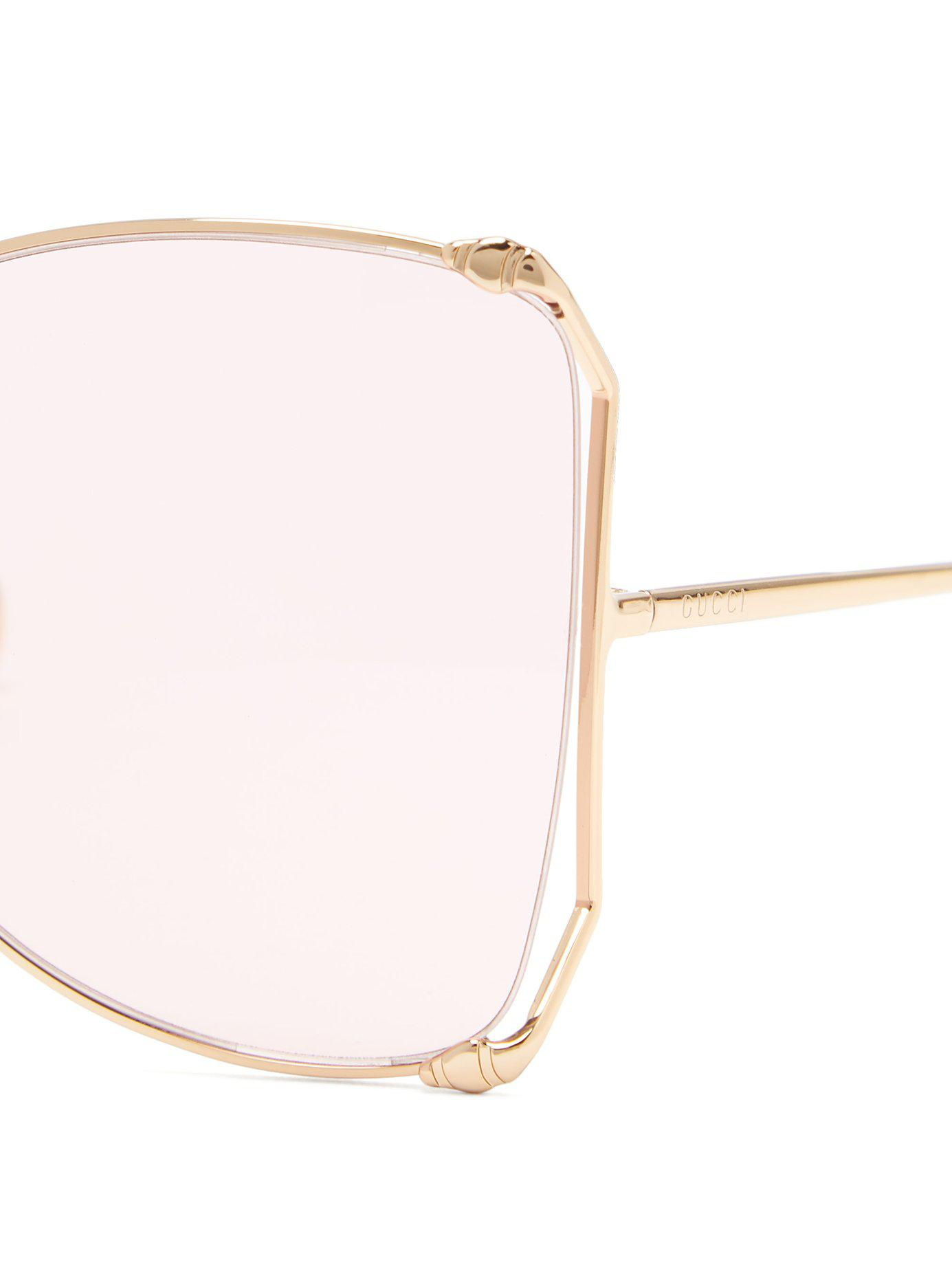 c52c4ce0899 Gucci - Pink Oversized Butterfly Frame Gg Sunglasses - Lyst. View fullscreen