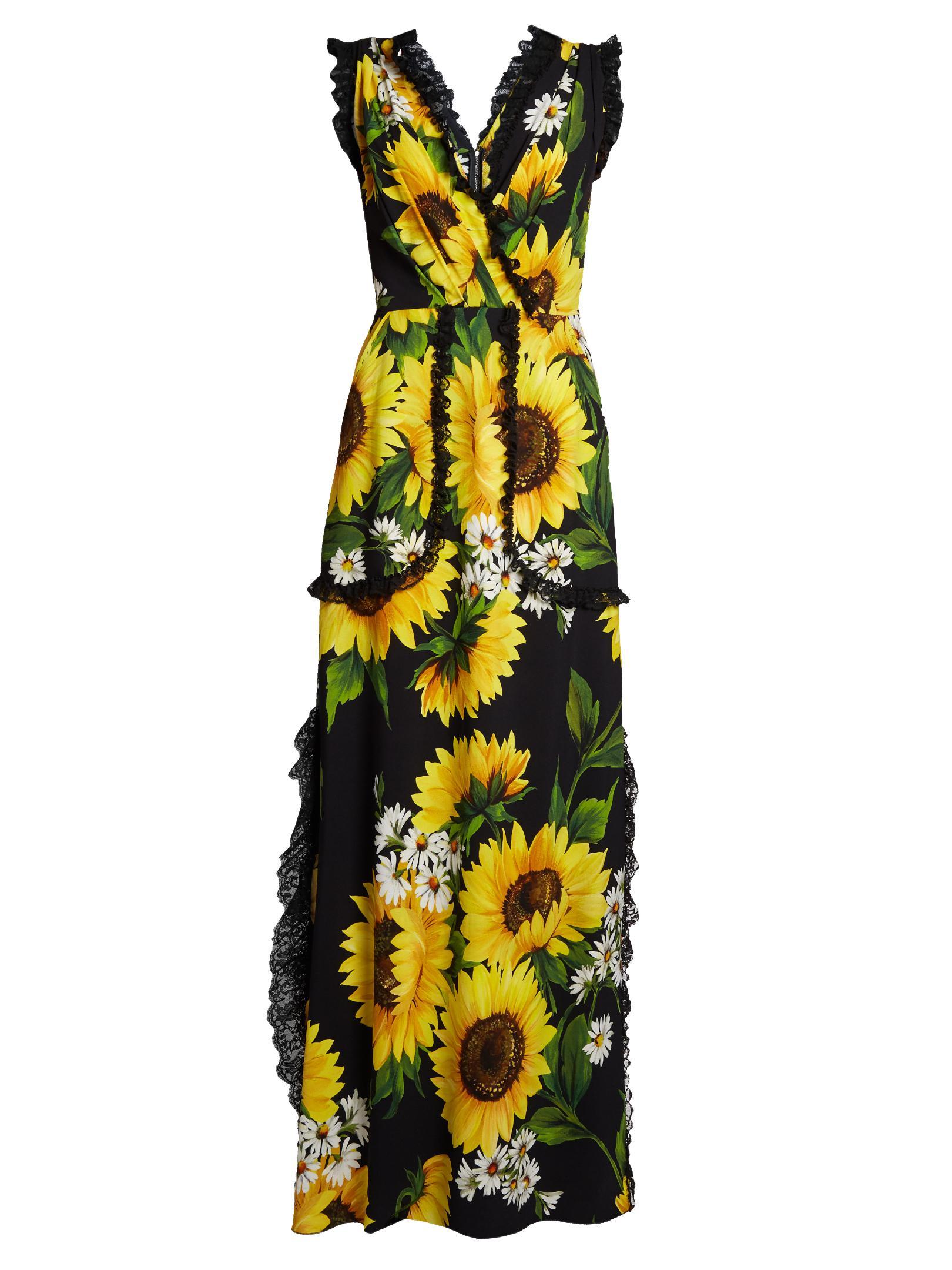 cc200a1956102 Dolce & Gabbana Sunflower-print Cady Gown - Lyst