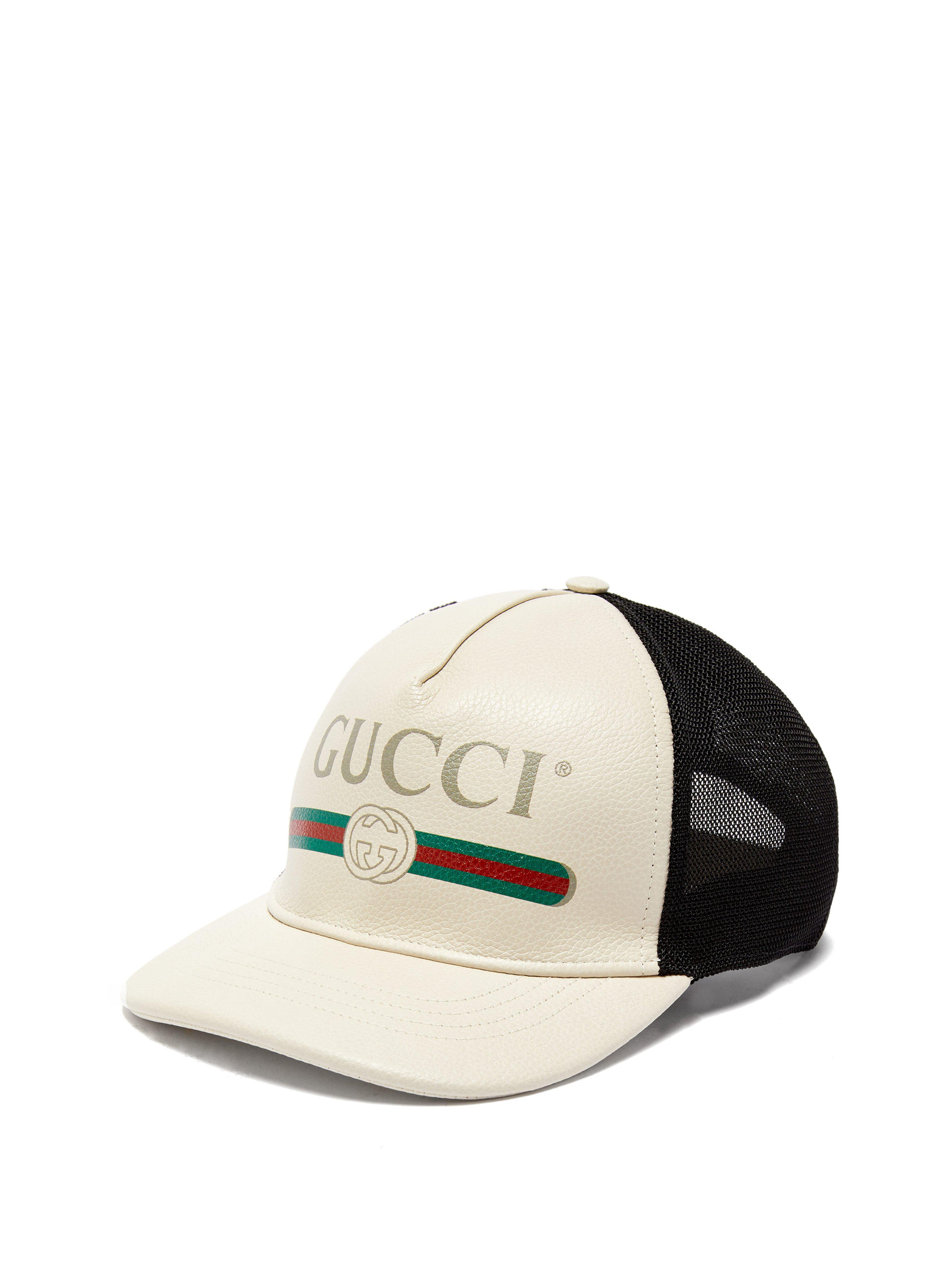 a7b06bab5e6 Gucci - Black Vintage Logo Leather And Mesh Cap for Men - Lyst. View  fullscreen