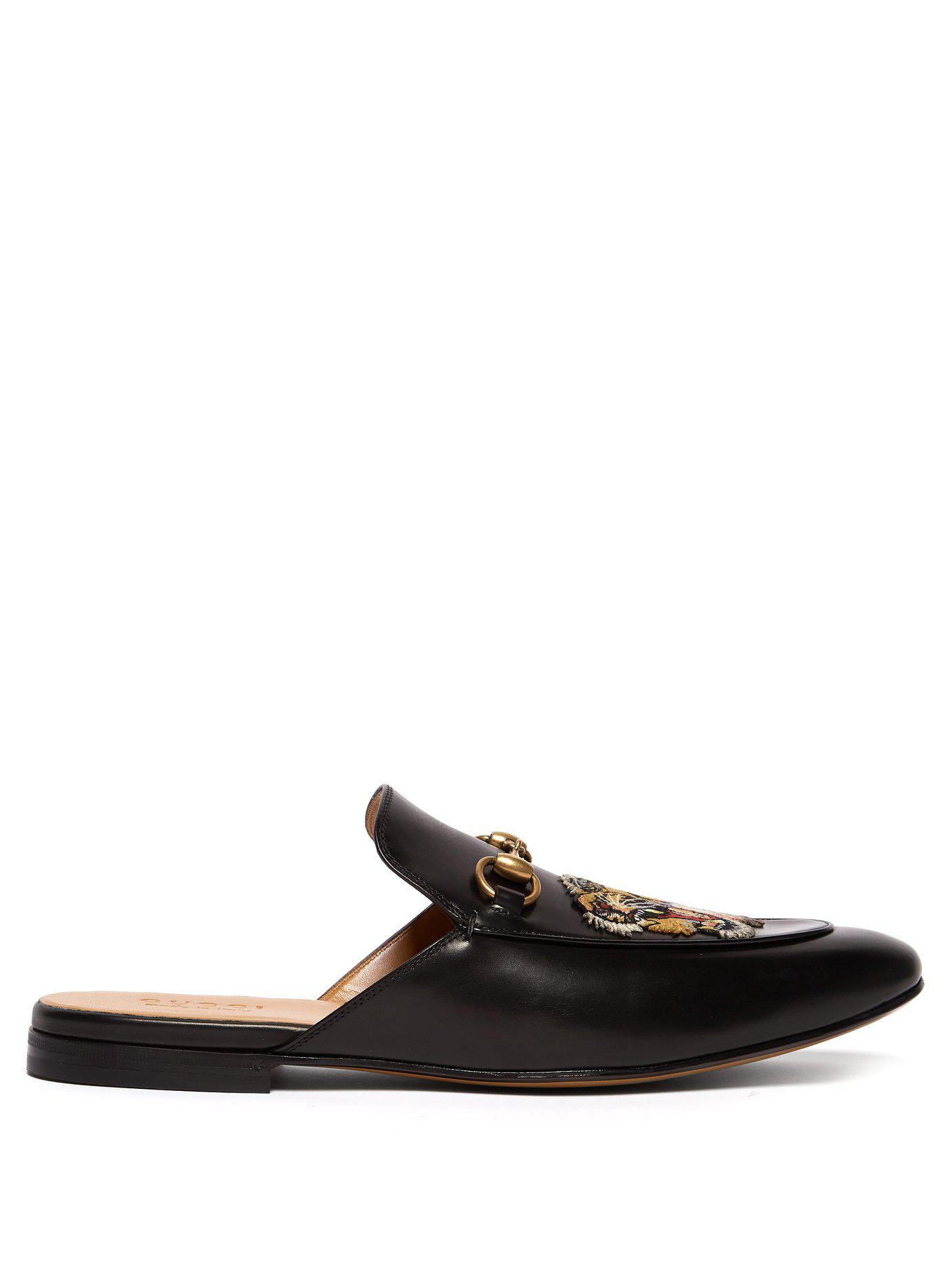 56d8cc86563 Lyst - Gucci Kings Tiger Appliqué Backless Leather Loafers in Black ...