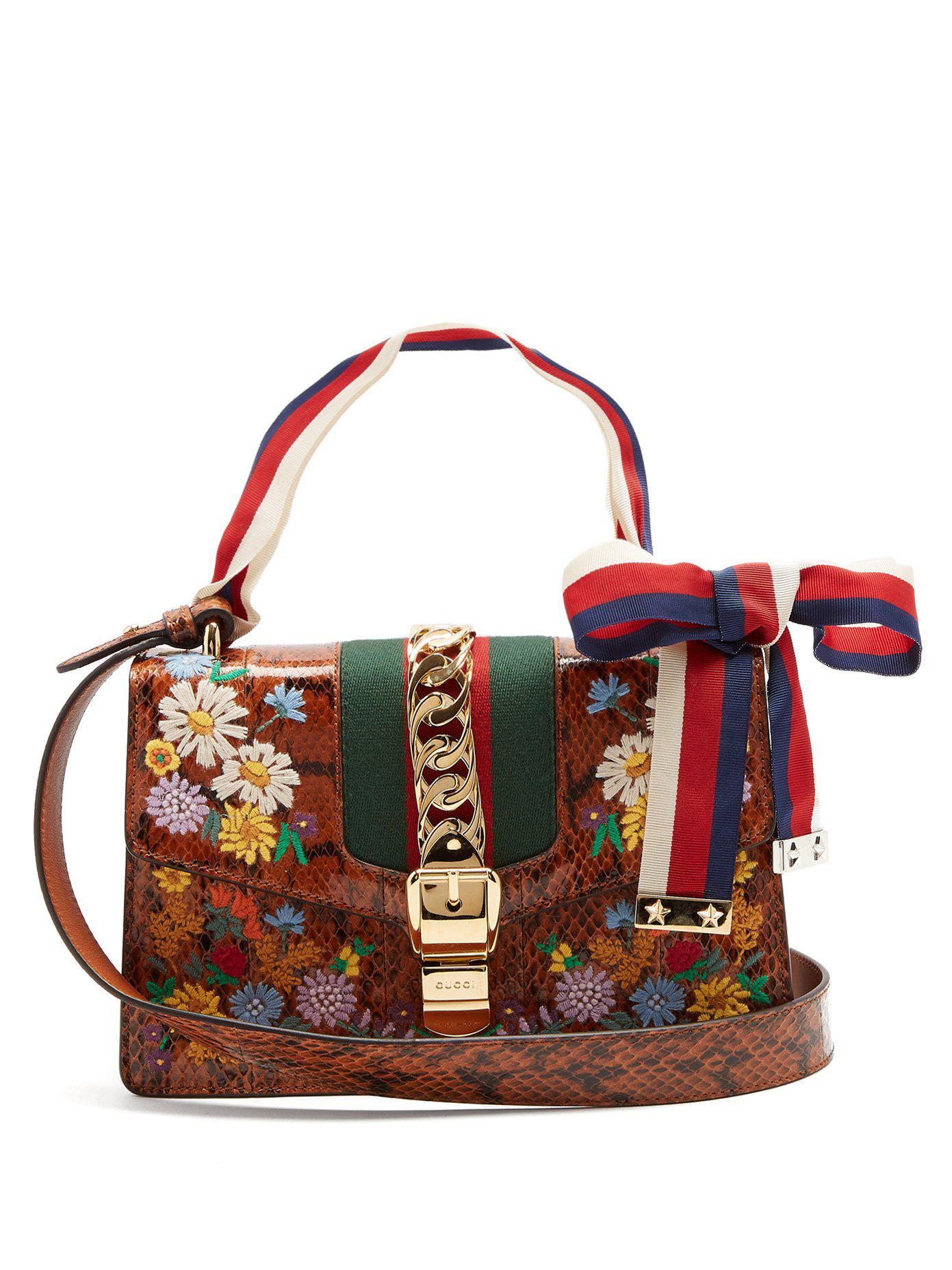 Floral-embroidered watersnake shoulder bag Gucci k3OXAtph