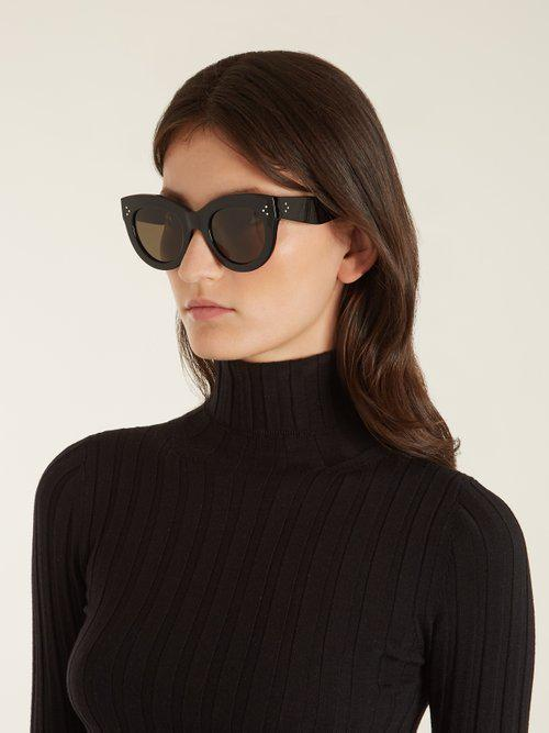 cf3c7f8fede2 Céline Caty Cat-eye Acetate Sunglasses in Black - Lyst