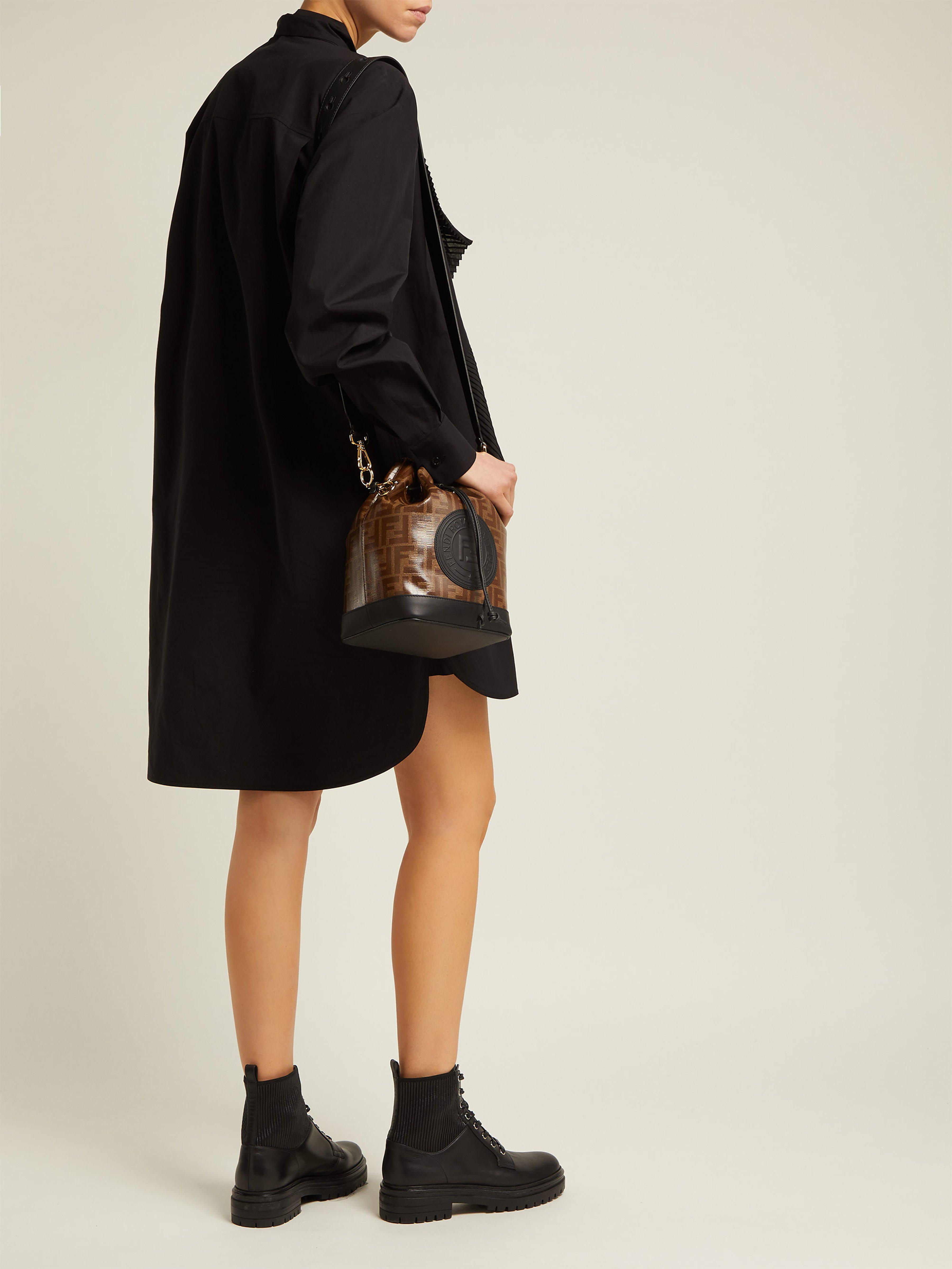 c2e9b34b3818 Fendi Mon Tresor Ff Jacquard Leather Bucket Bag in Brown - Lyst