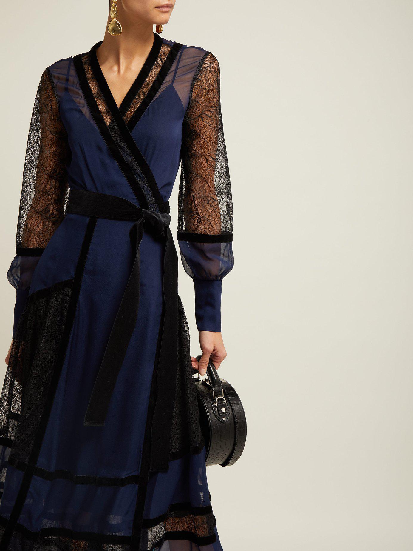 b307e704279a0 Lyst - Diane von Furstenberg Forrest Lace Panel Wrap Dress in Blue - Save 2%