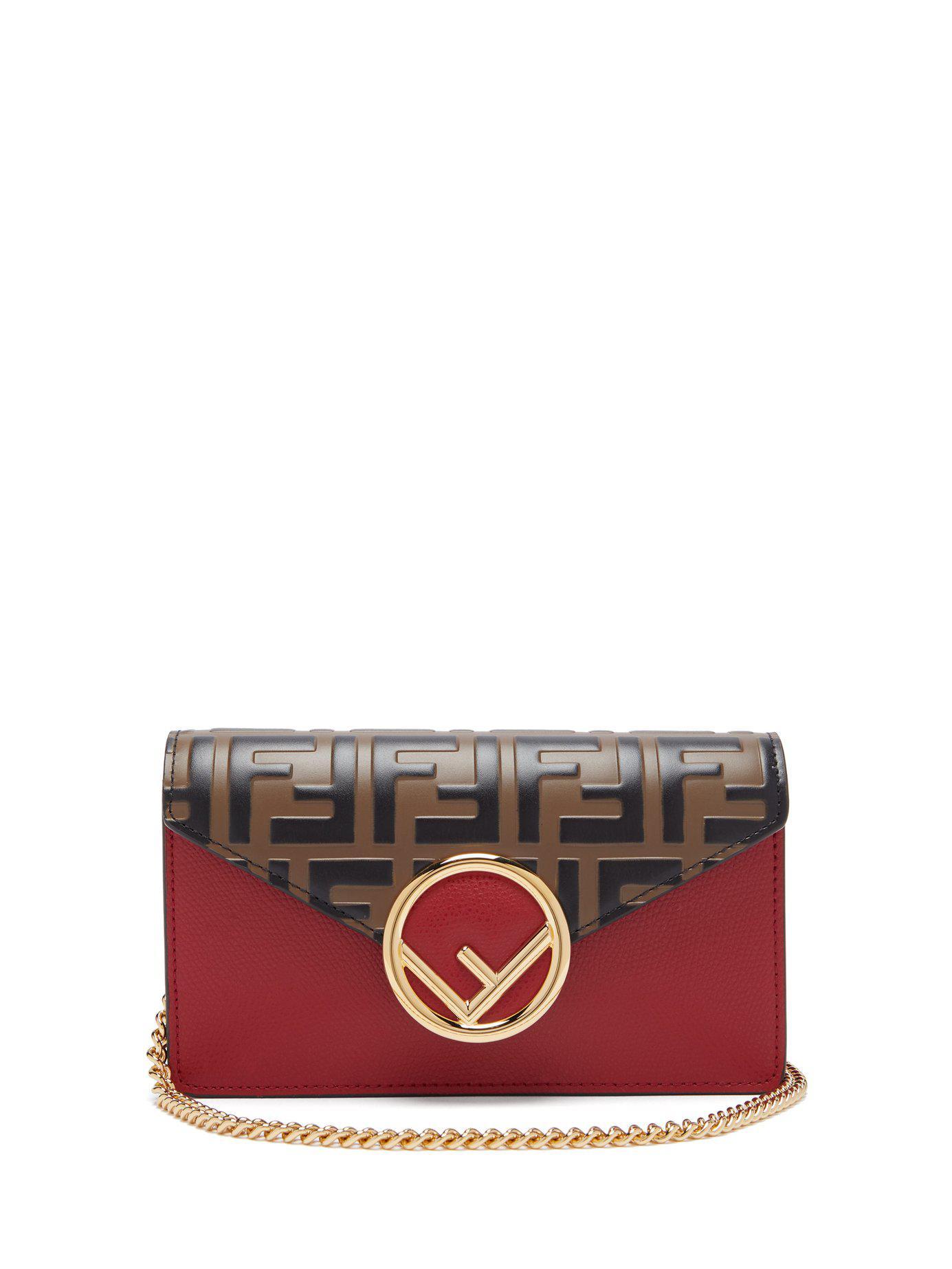 7672ffadec16 Fendi Ff Logo Leather Belt Bag - Lyst