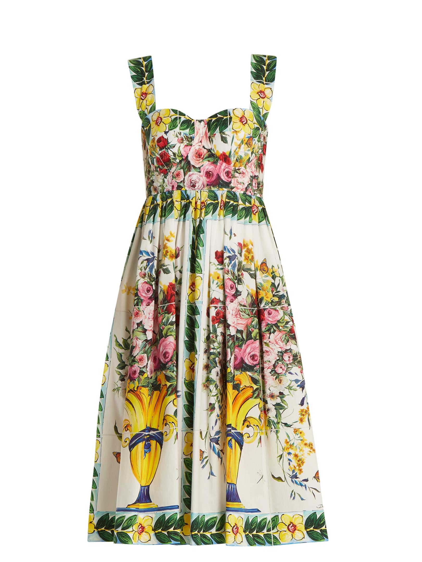 5fa3ff11b5baa Lyst - Dolce   Gabbana Floral-print Gathered-skirt Cotton-poplin ...