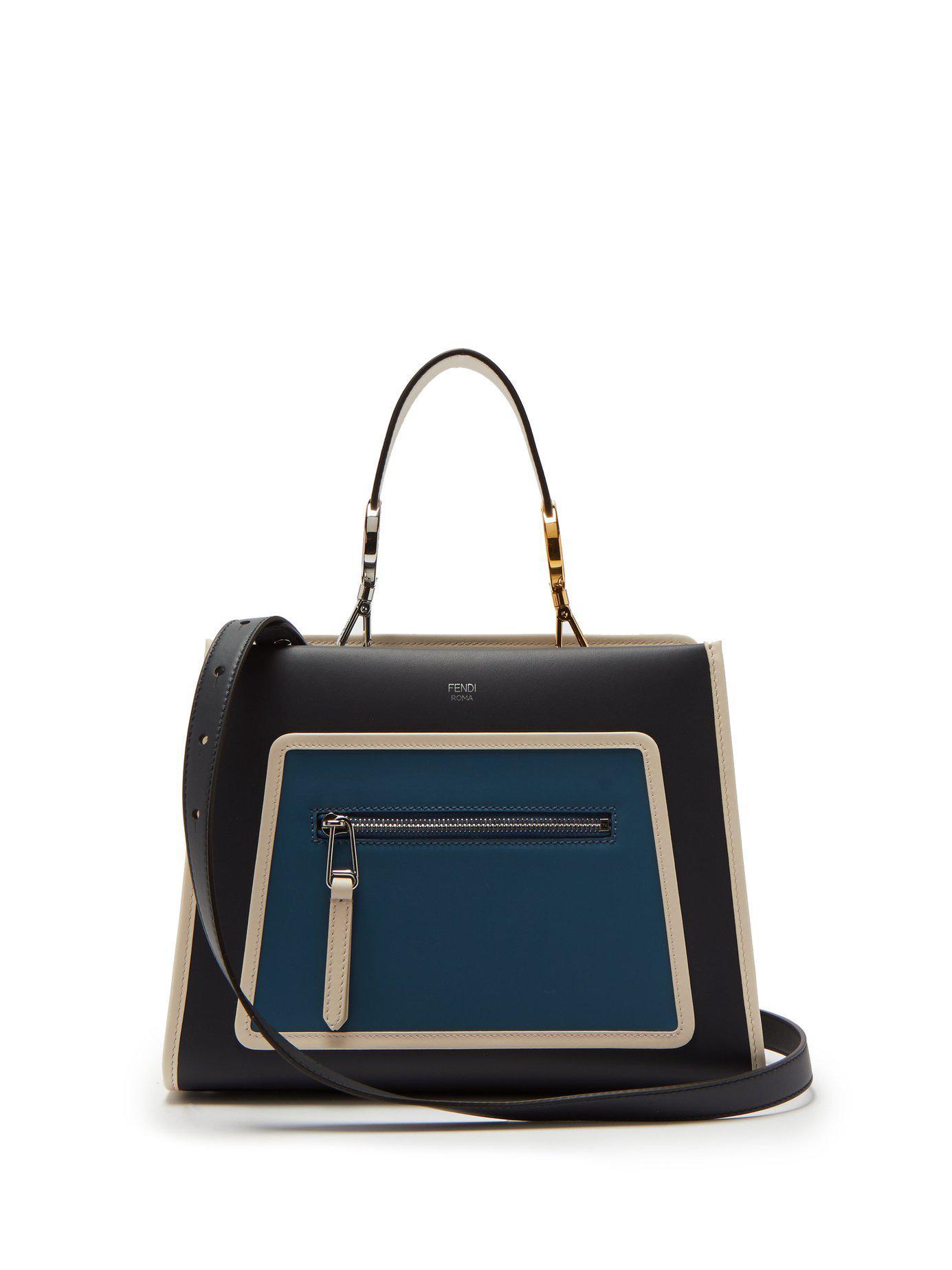 a8a0917b36b7 Lyst - Fendi Runaway Leather Bag in Blue