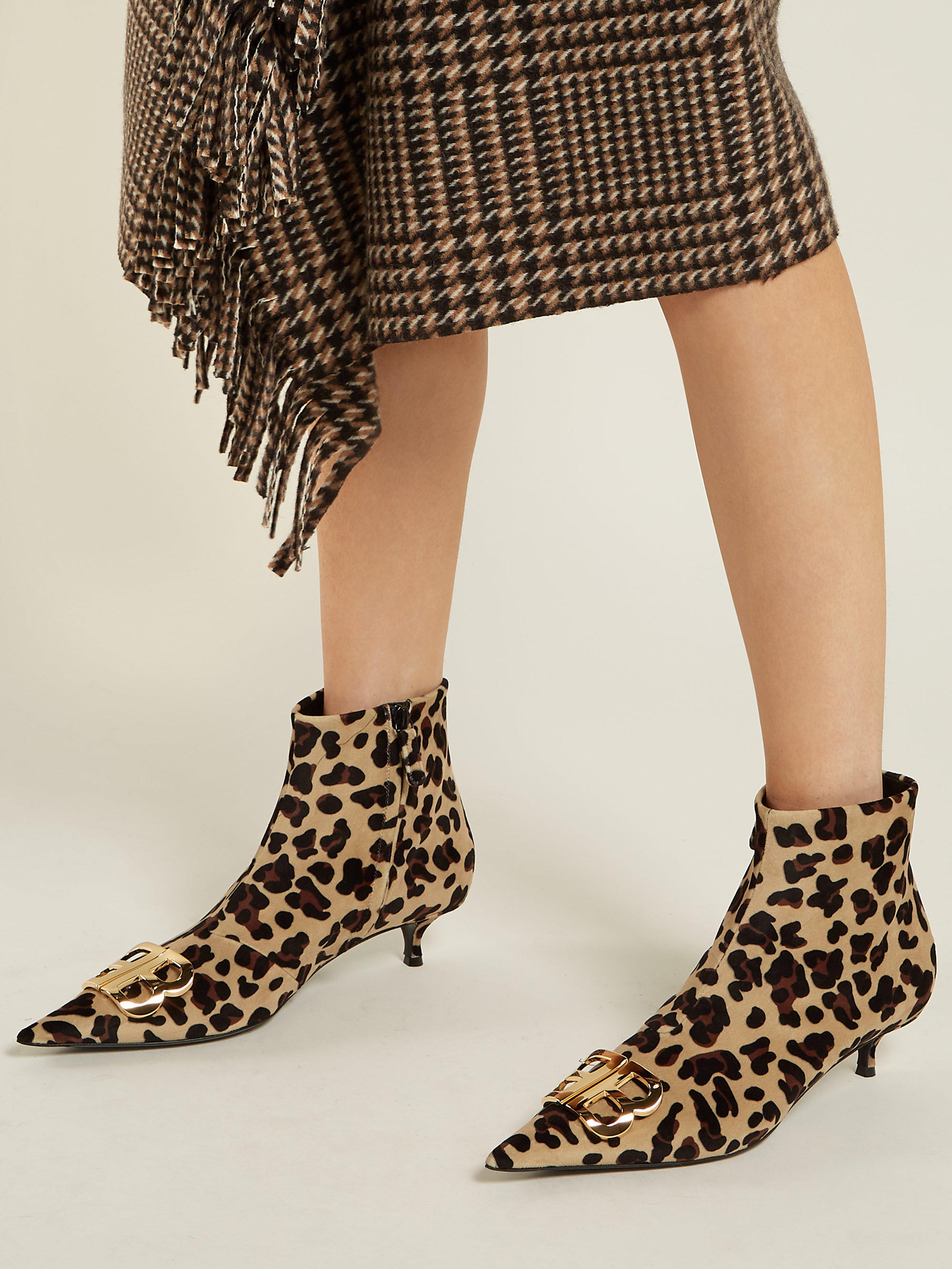 9a35d917ce63 Balenciaga - Brown Leopard Velvet Bb Ankle Boots - Lyst. View fullscreen