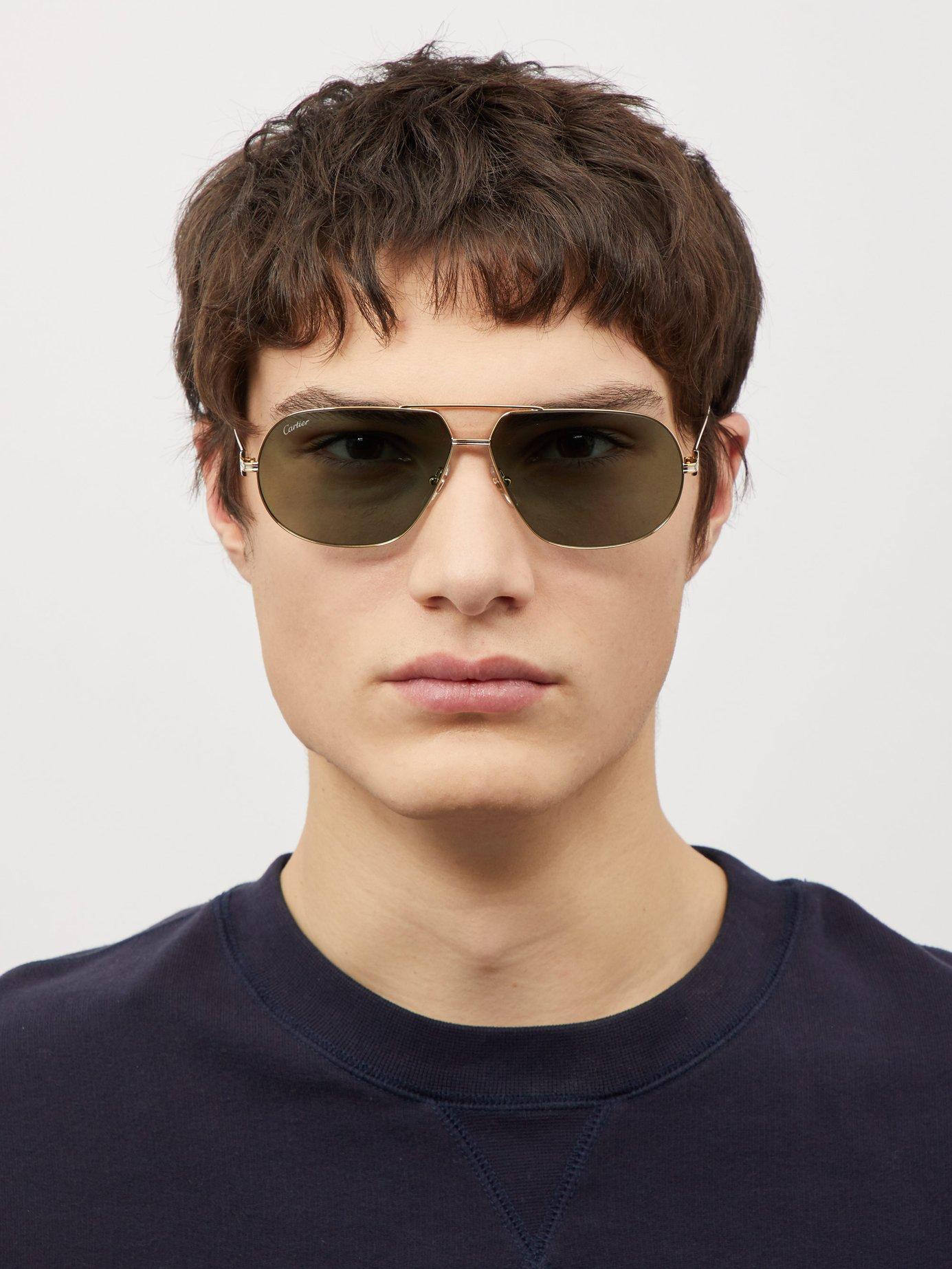 6ffed267d7 Cartier Première De Cartier Aviator Metal Sunglasses in Metallic for Men -  Lyst