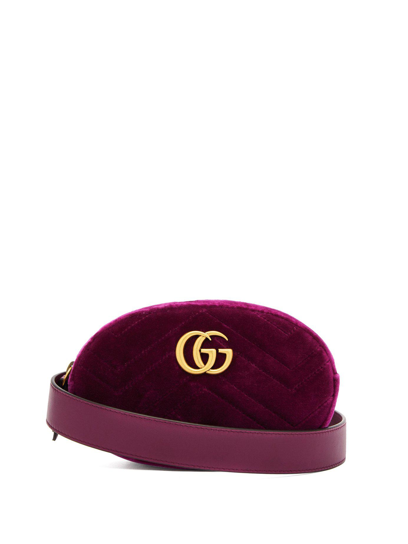 Lyst - Gucci Gg Marmont Velvet Belt Bag in Purple 848cb4a9b6c