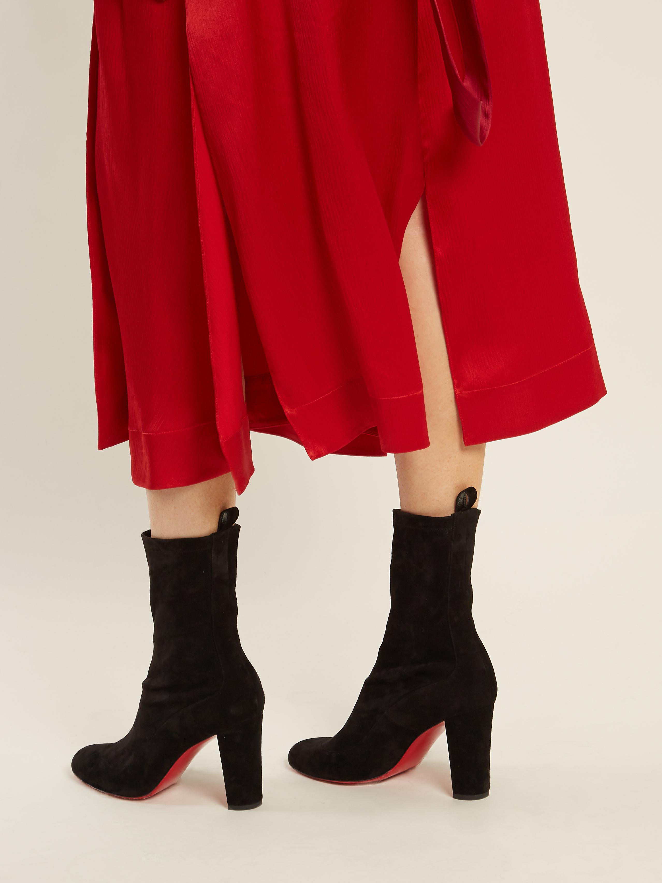 98c556fd205 Lyst - Christian Louboutin Gena Suede Ankle Boots in Black