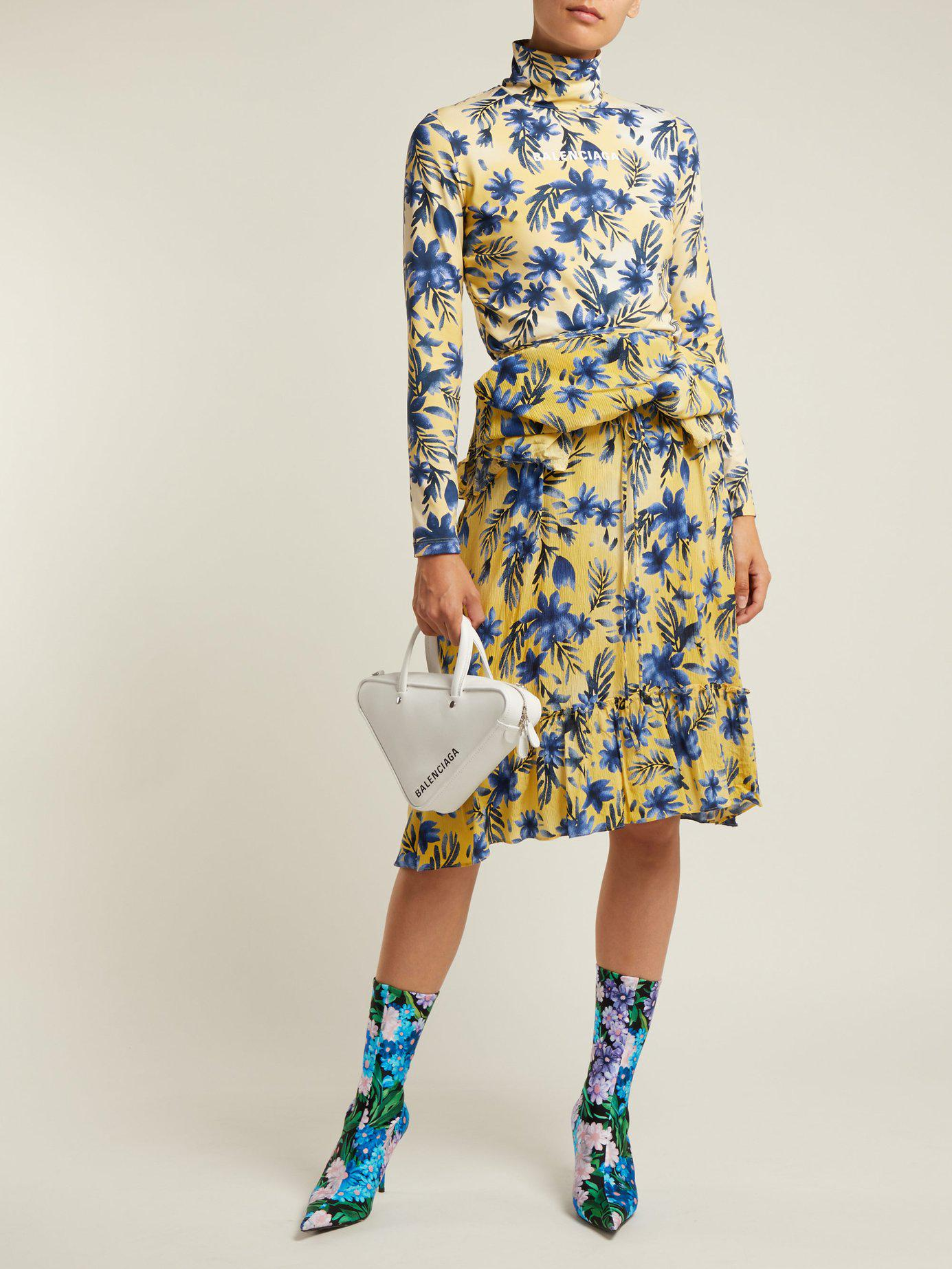 b5fc923bde08 Lyst - Balenciaga Floral Print Stretch Jersey And Silk Crepe Dress in Blue