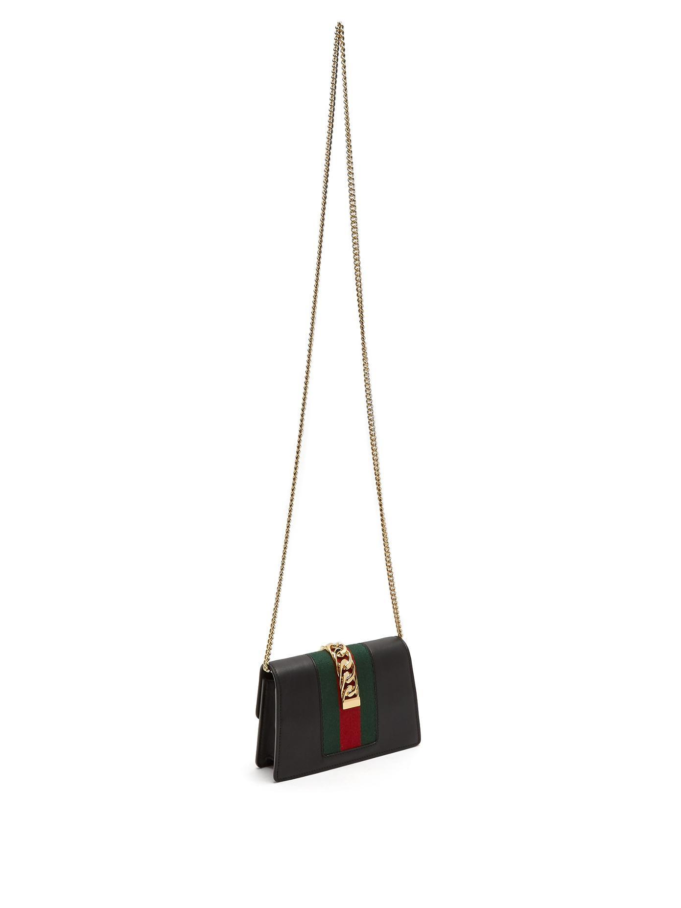 c4dc8b4f2105 Lyst - Gucci Sylvie Super Mini Leather Shoulder Bag in Black