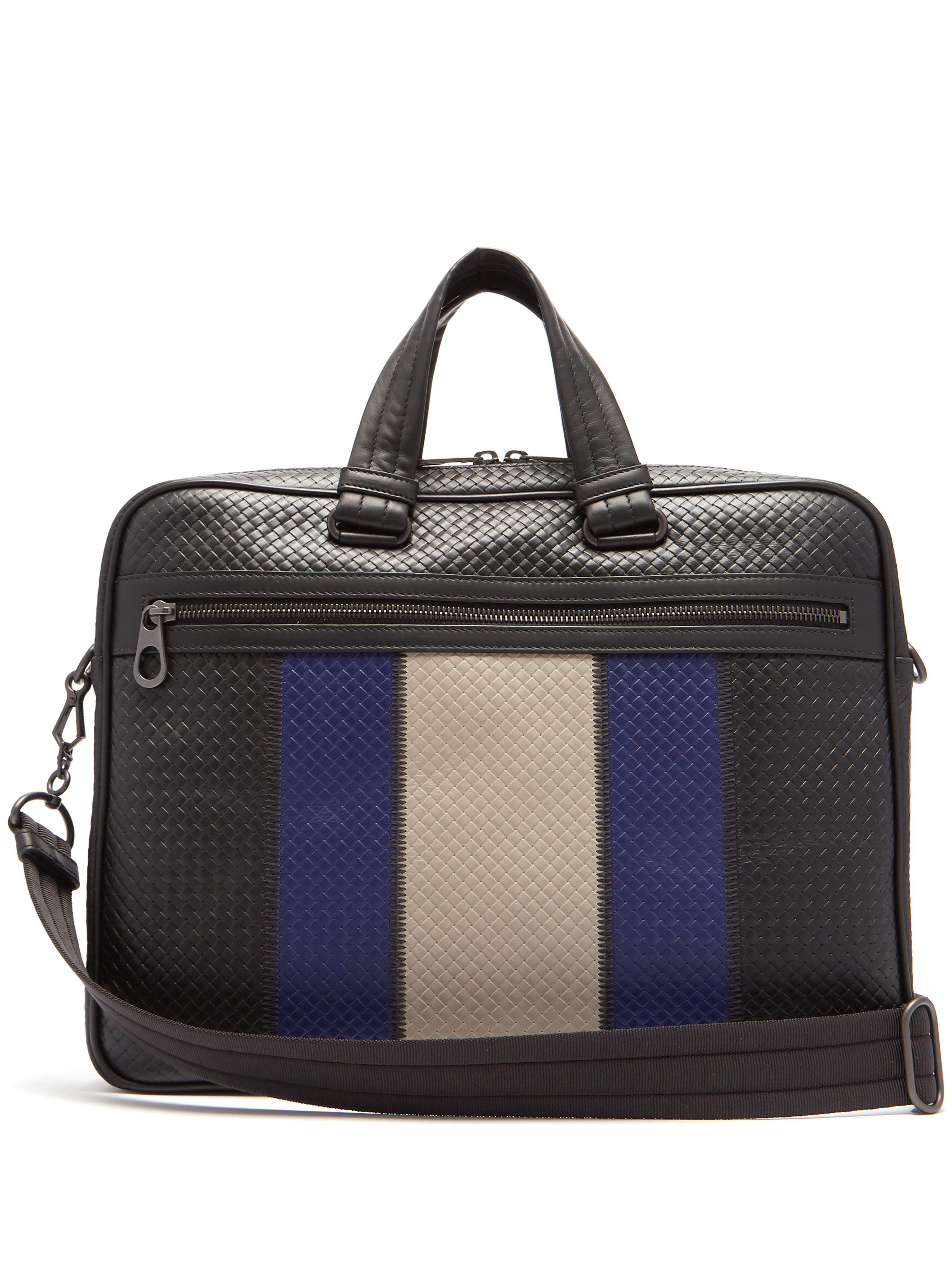 47f480537bbb Bottega Veneta Striped Intrecciato Leather Briefcase in Black for ...