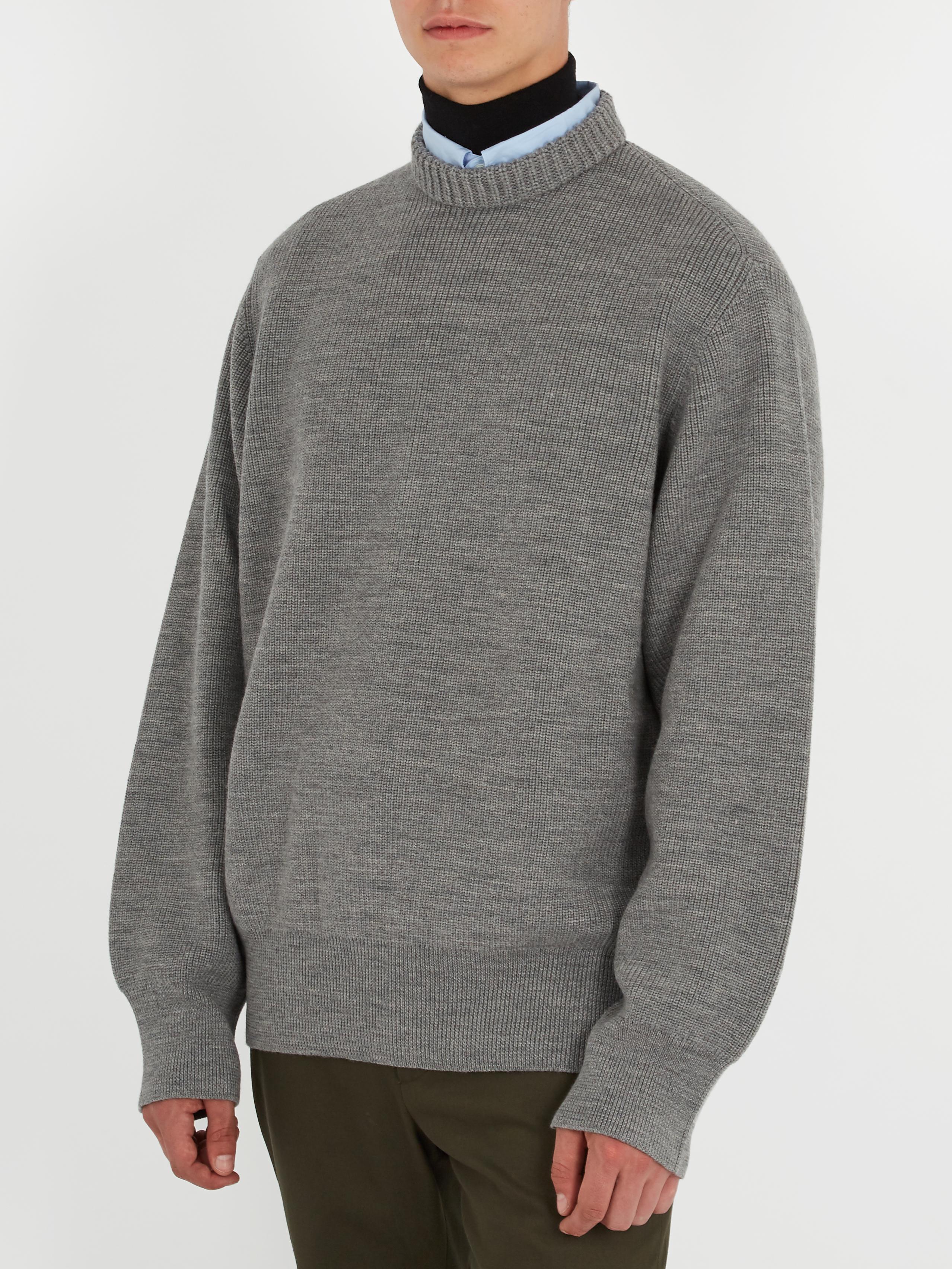 Lanvin Oversized Wool Sweater in Gray for Men | Lyst