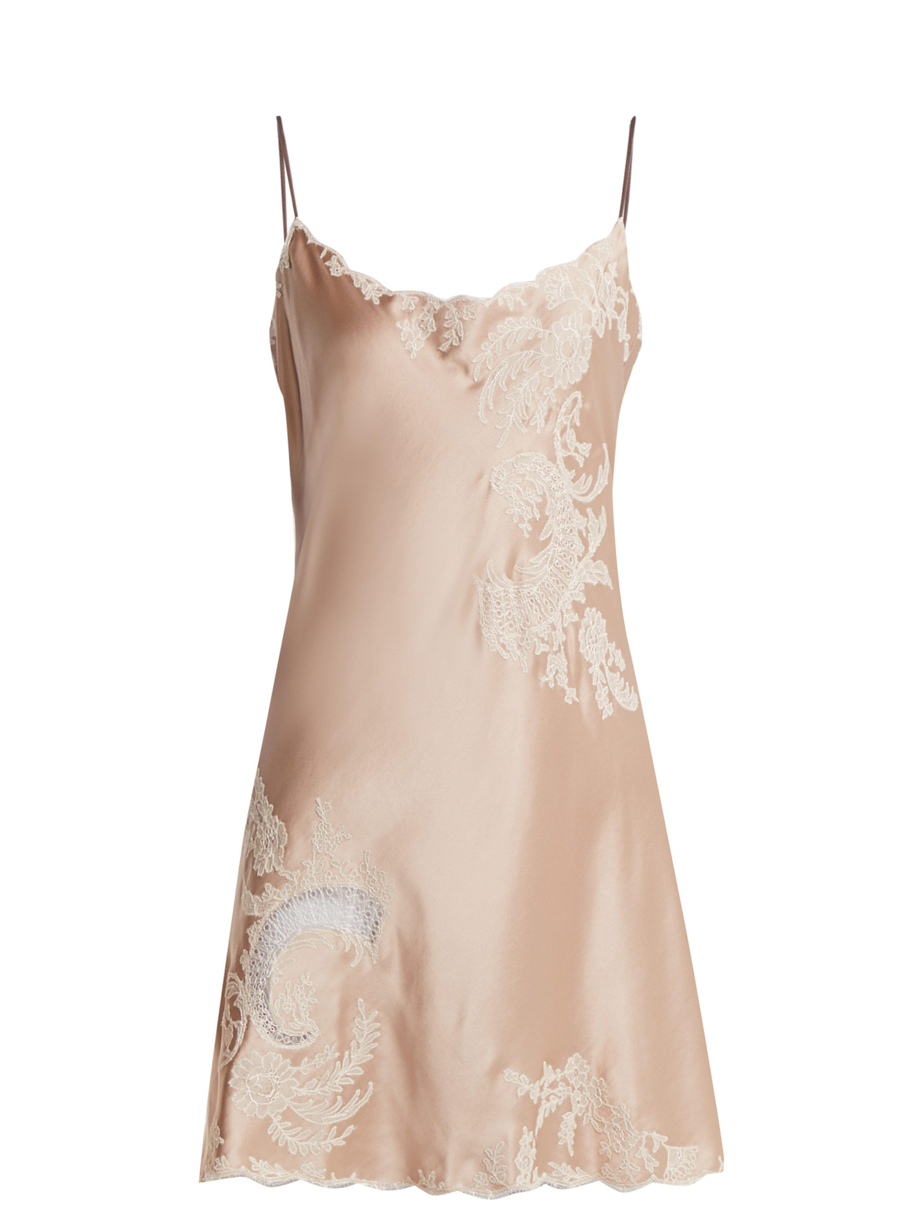 2ad1f342a9e5 Carine Gilson Lace Trimmed Silk Satin Slip Dress in Pink - Lyst
