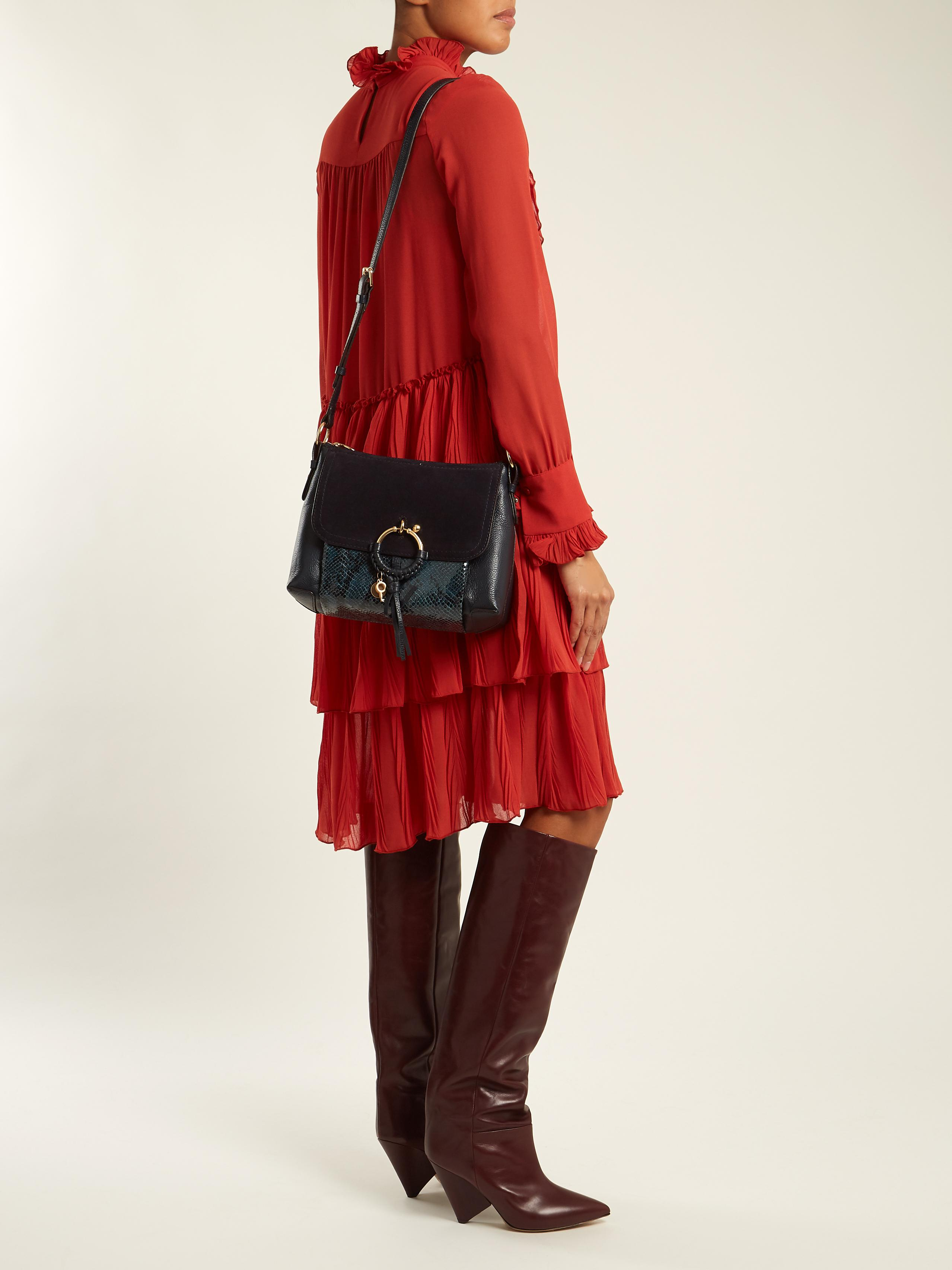 2e276bc15d3c Lyst - See By Chloé Joan Small Suede-panelled Leather Cross-body Bag ...
