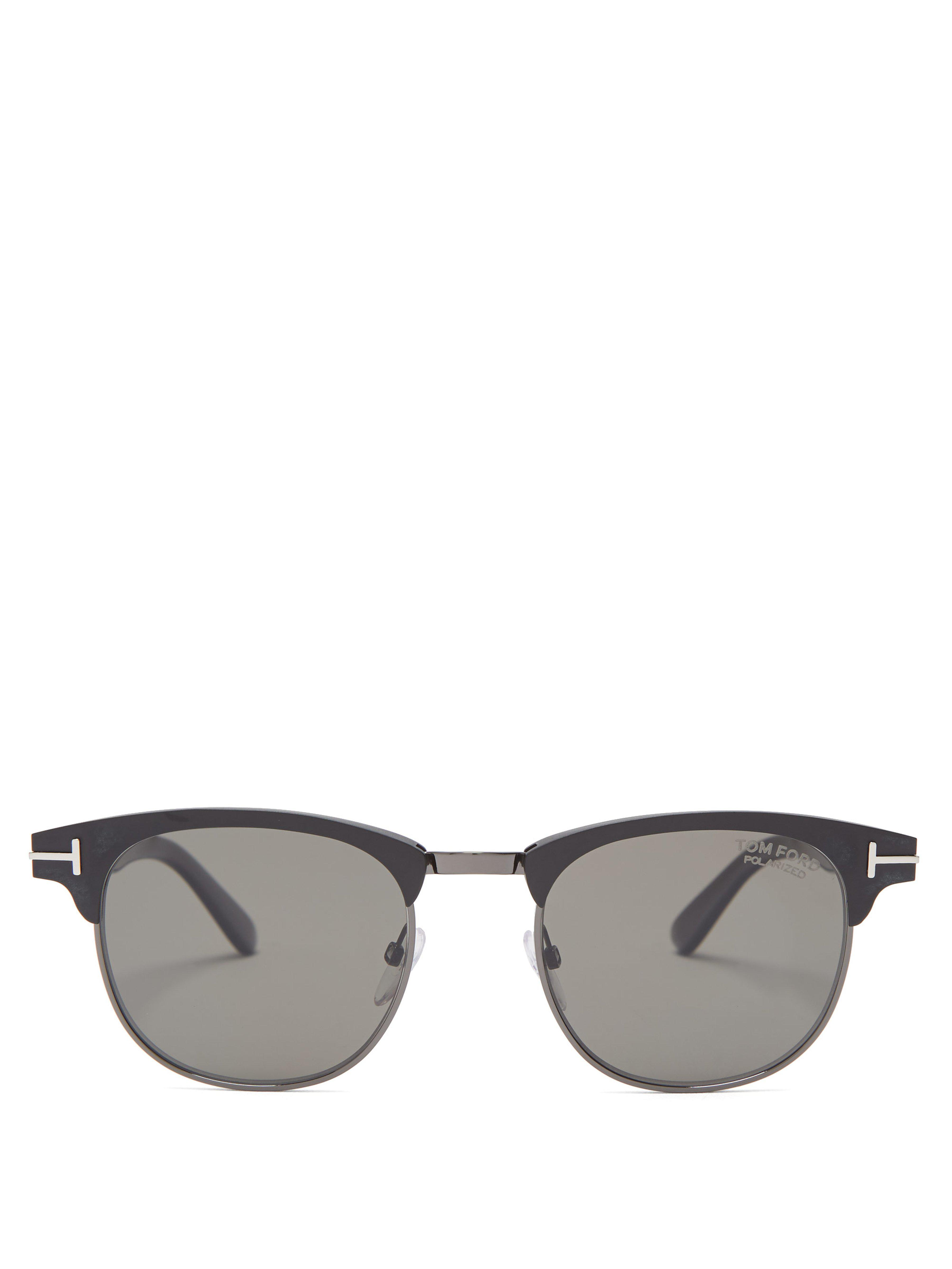 8e9c4b7d8f Tom Ford Round Frame Matte Metal Sunglasses in Black for Men - Lyst