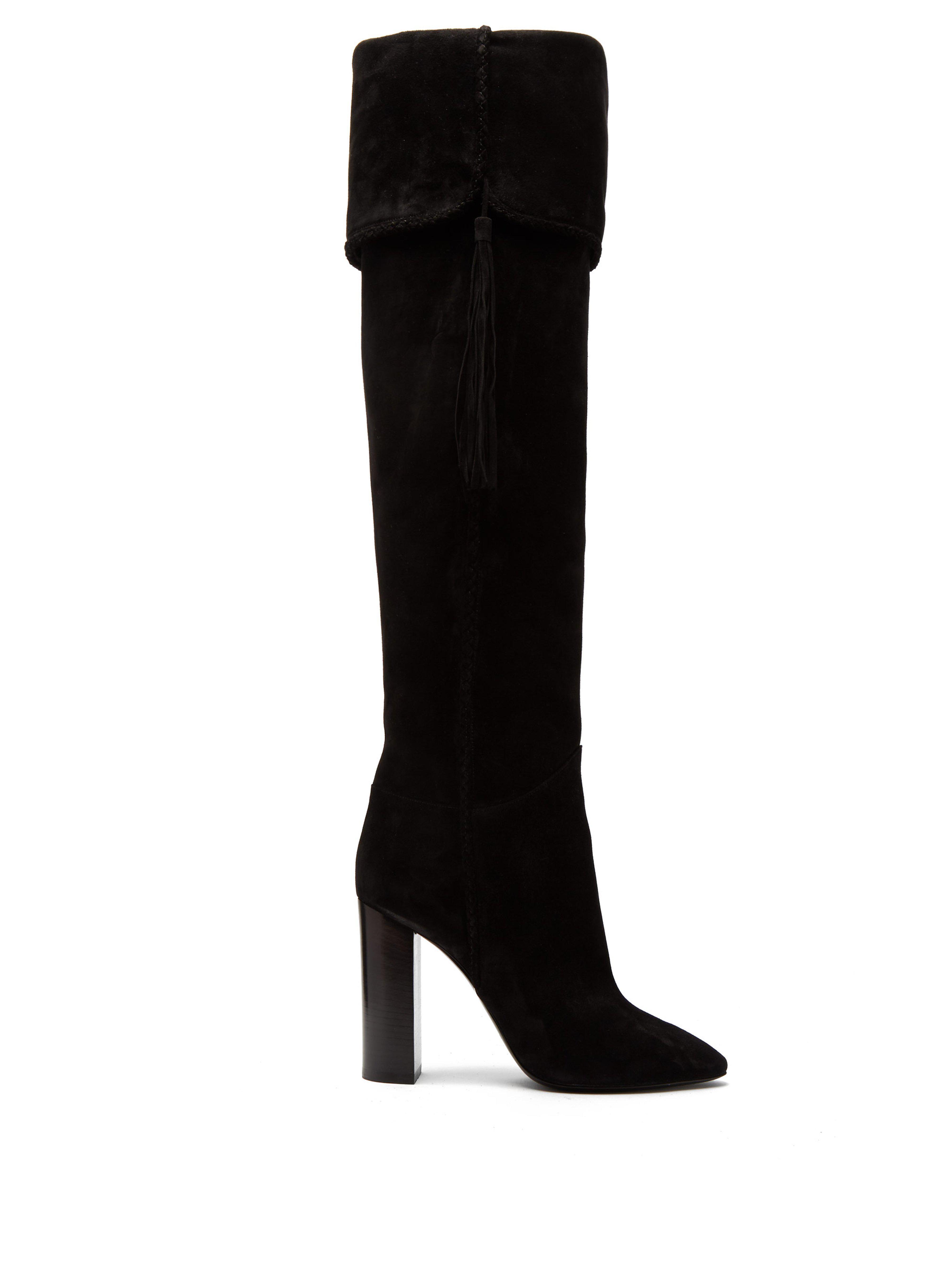 b003878530a Saint Laurent Meurice Tassel Embellished Suede Boots in Black - Save ...
