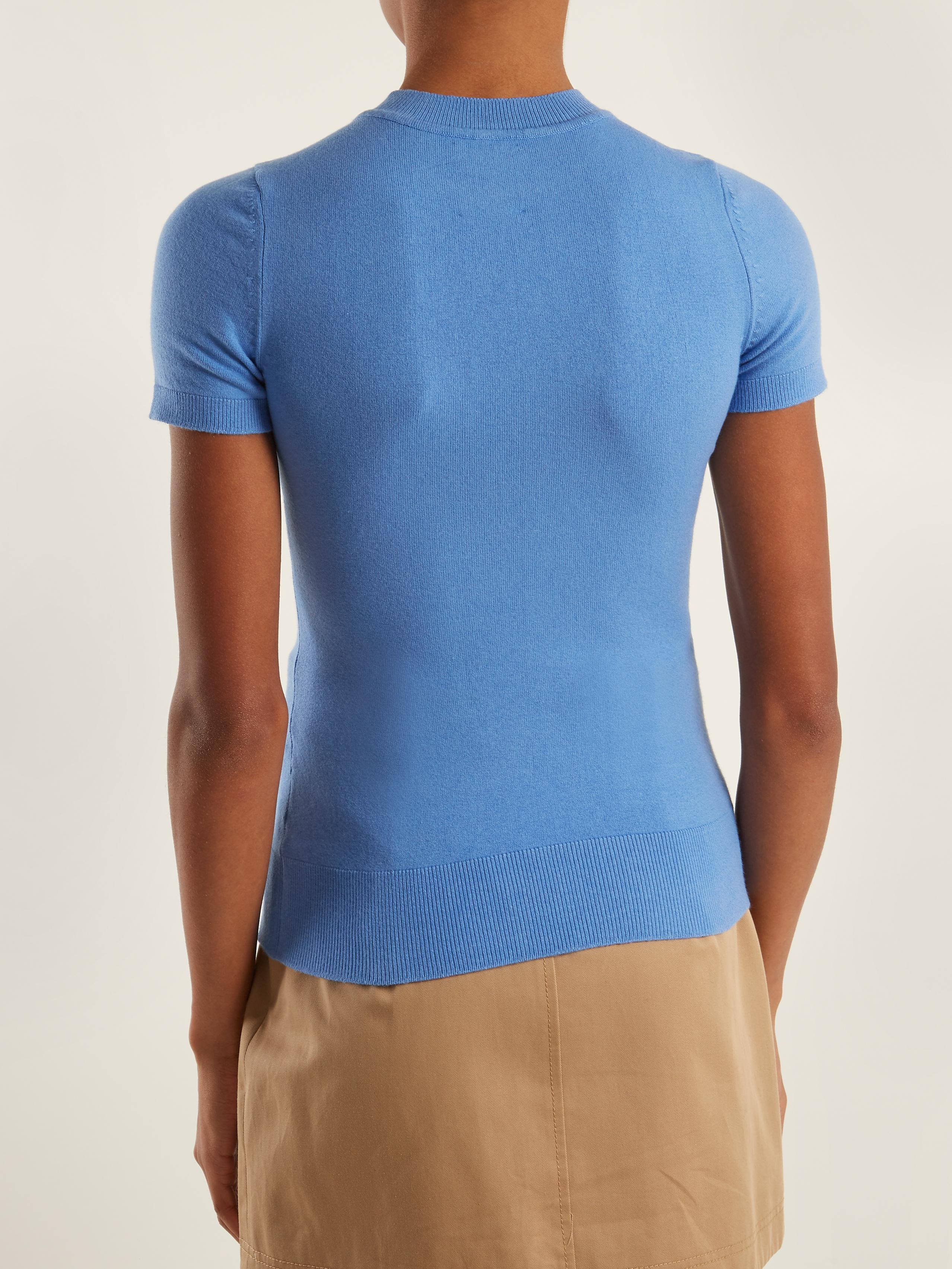 Joos tricot Crew-neck Short-sleeved Knit Sweater in Blue | Lyst
