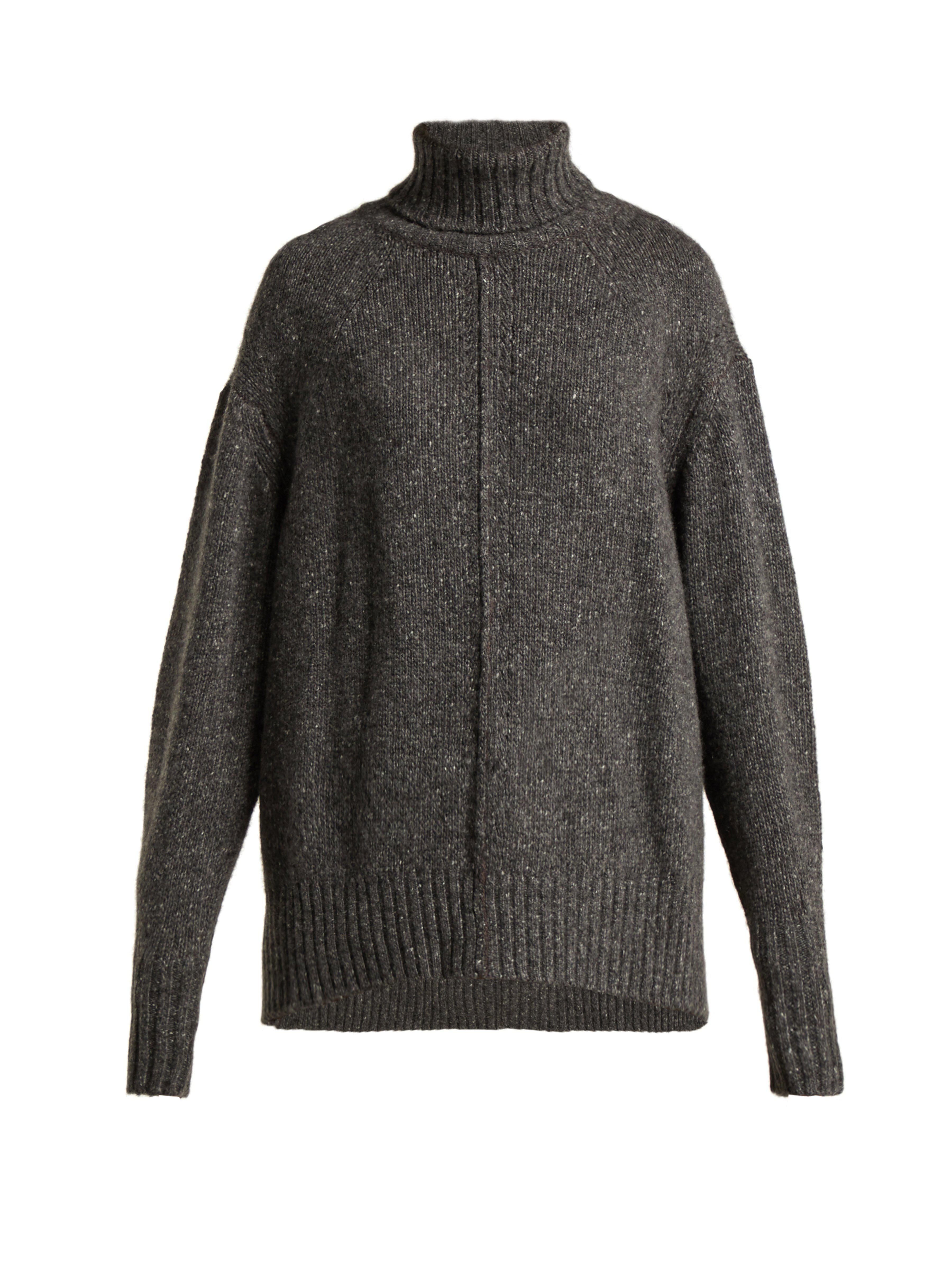 c367630d9 Isabel Marant Harriett Oversized Roll Neck Cashmere Sweater in Gray - Lyst