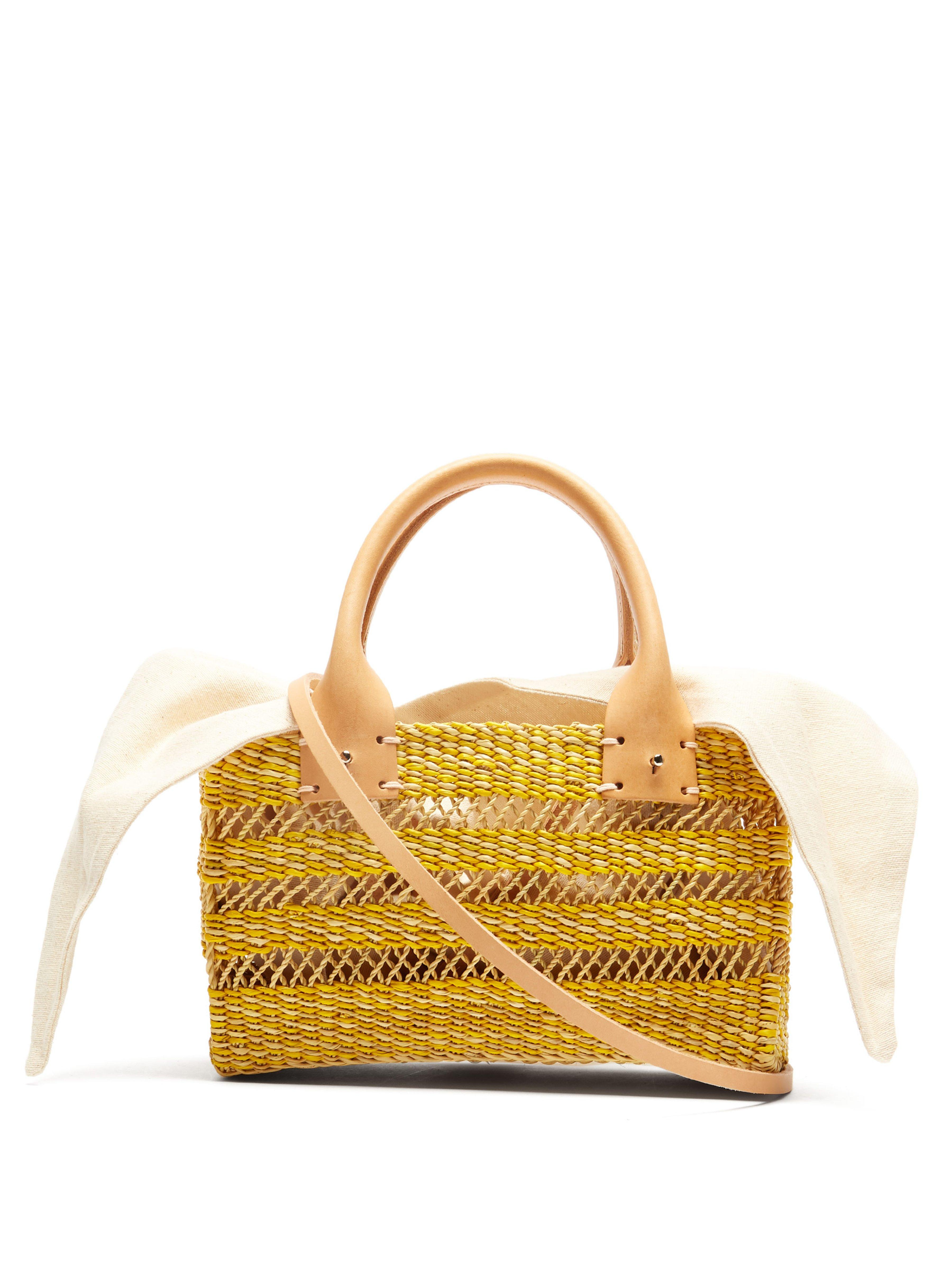 ae7e6229d3 Muuñ Carrie Canvas And Woven Straw Bag - Lyst