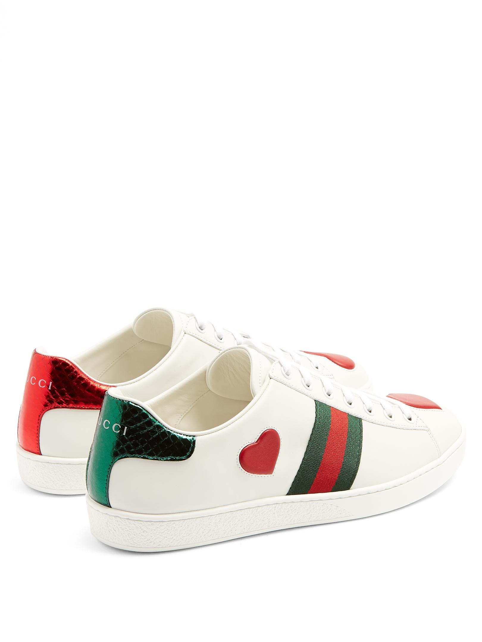 a5c8ed68fe3 Gucci New Ace Heart-appliqué Leather Trainers in White - Lyst