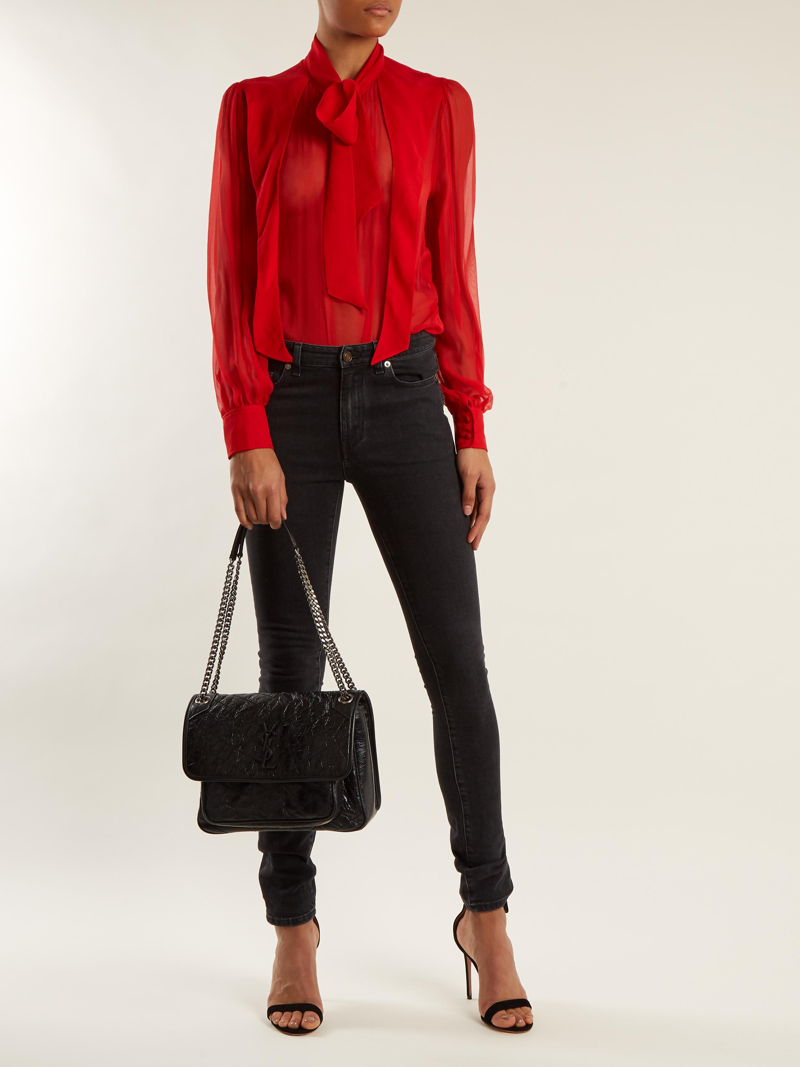 Lyst Saint Laurent Niki Medium Quilted Leather Bag In Black