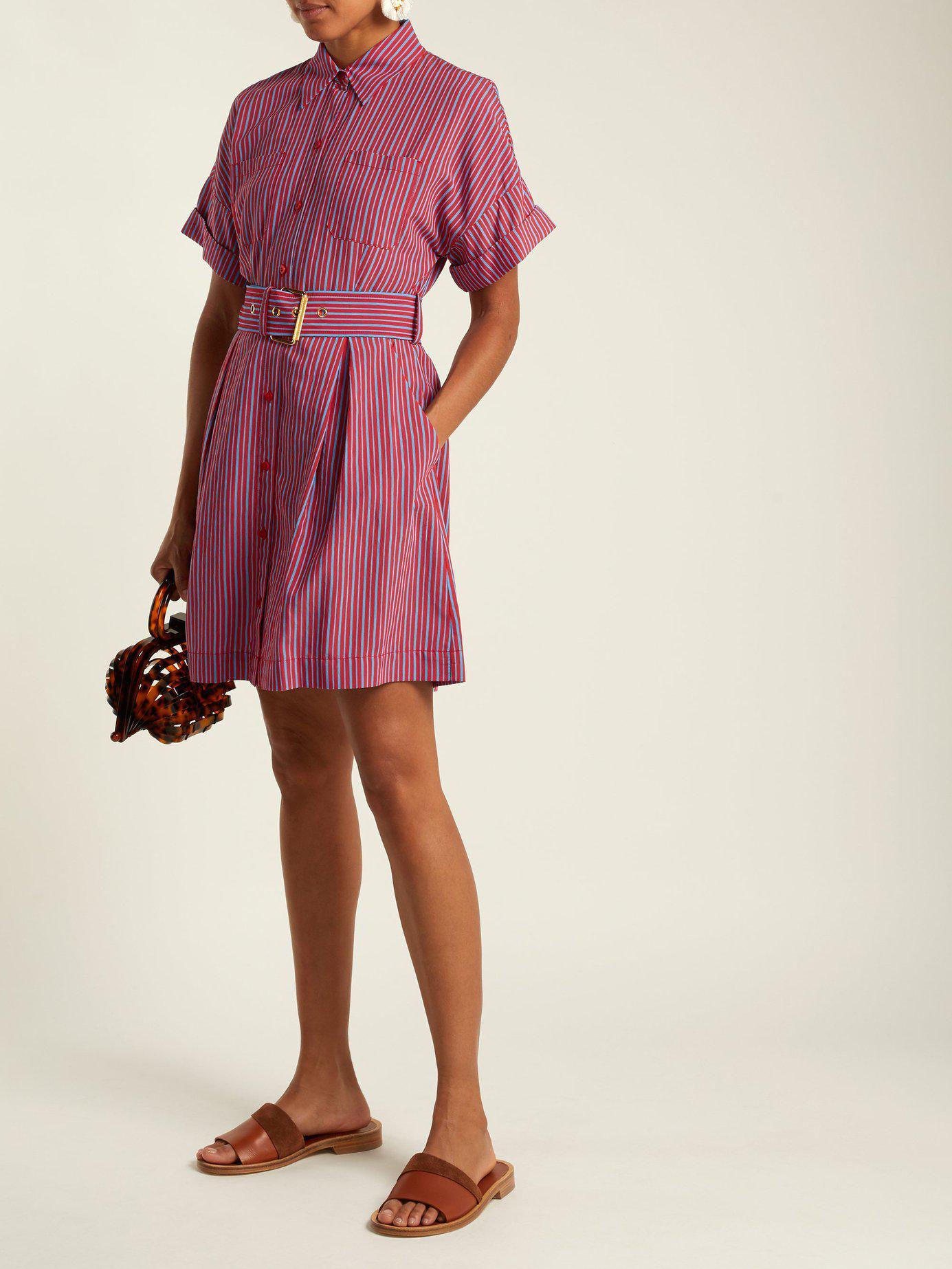 2d502f22c0 Lyst - Diane von Furstenberg Striped Patch Pocket Shirtdress in Red