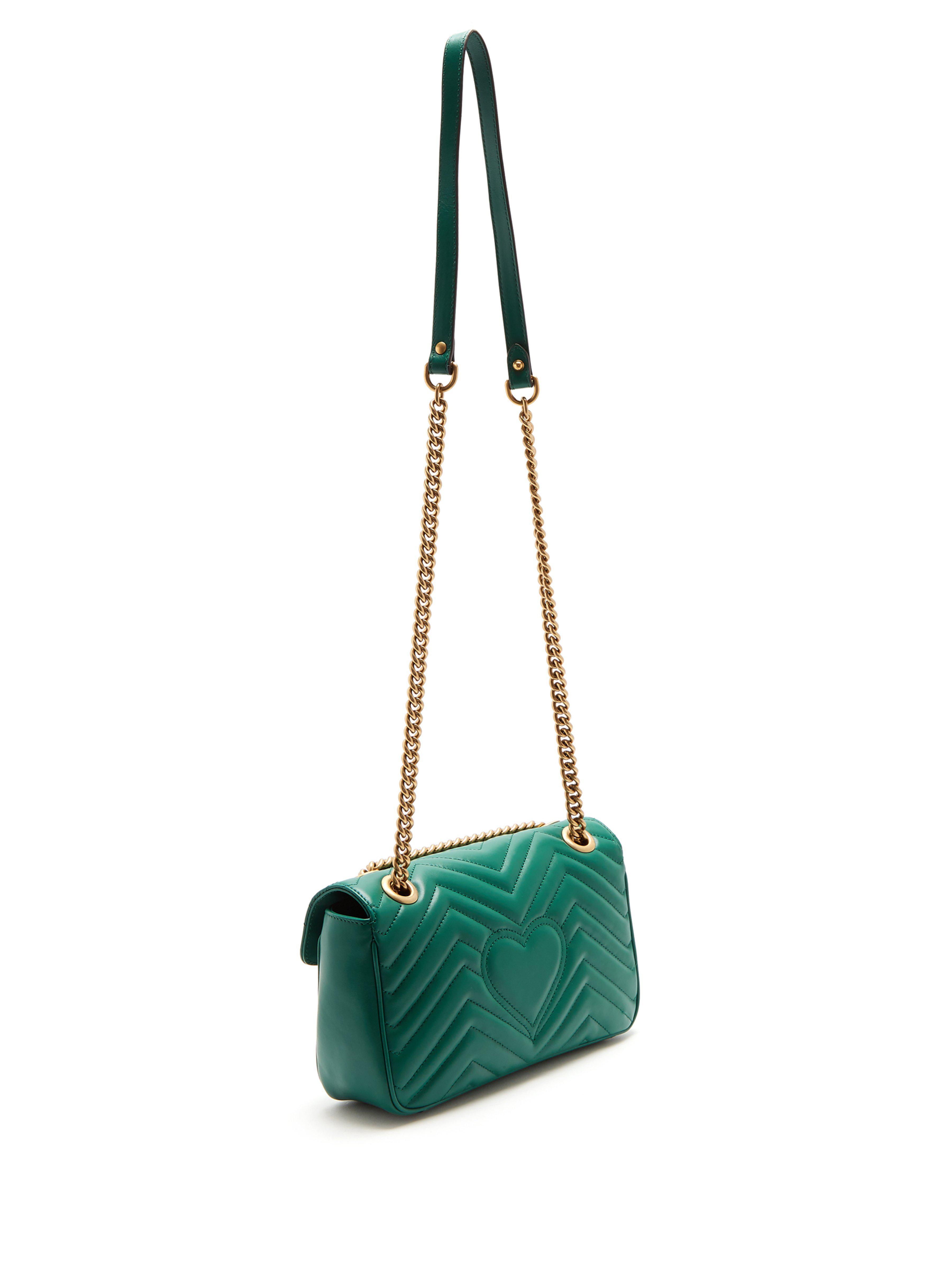 6c1fdaab0791 Gucci - Green Small Marmont Matelasse Leather Shoulder Bag - Lyst. View  fullscreen