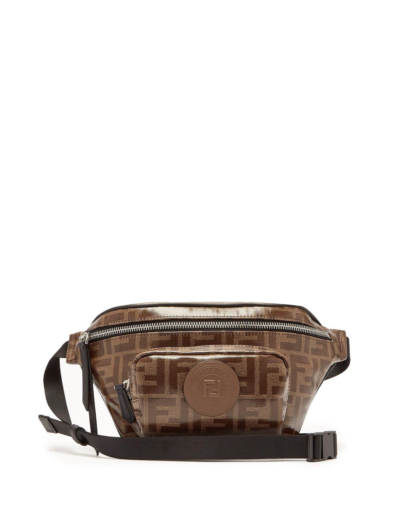 4fe926982e Lyst - Fendi Ff Logo Jacquard Canvas Belt Bag in Brown for Men