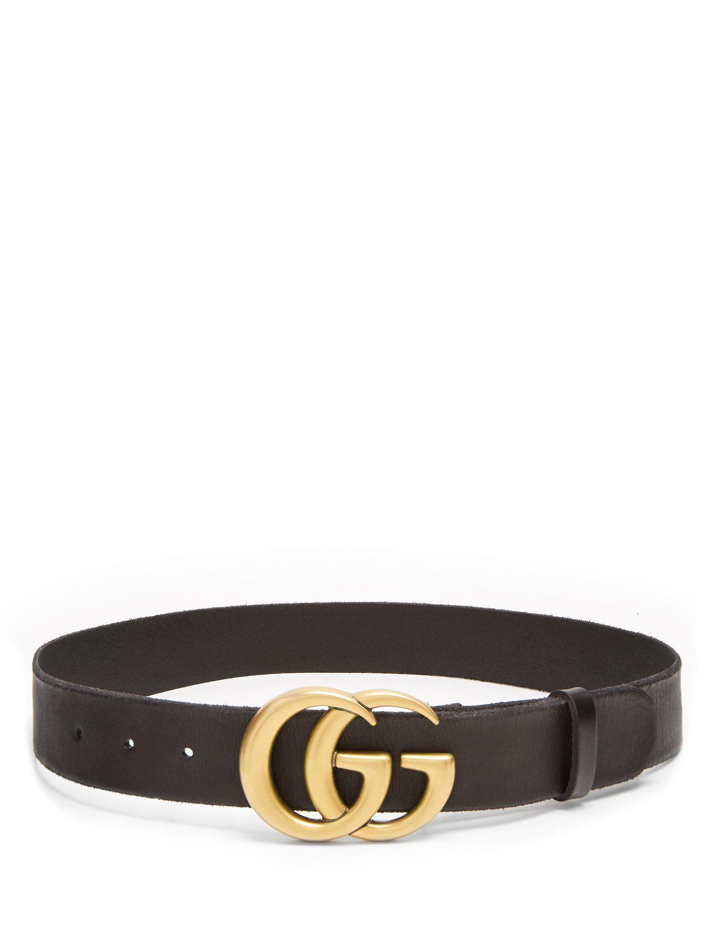 860775edac8 Lyst - Gucci Gg-logo 4cm Leather Belt in Black